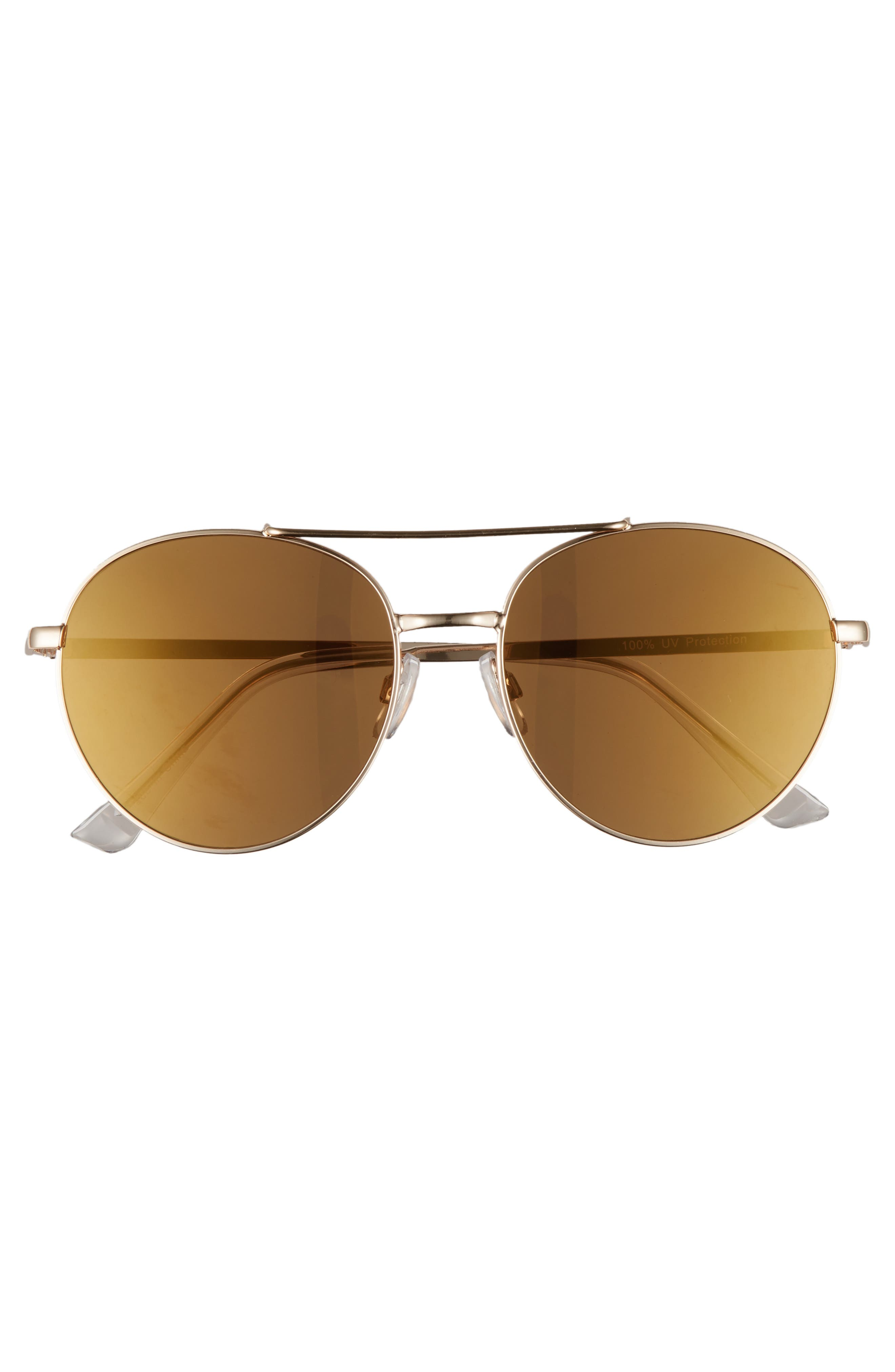 Lucky Seven 55mm Metal Aviator Sunglasses,                             Alternate thumbnail 3, color,                             Gold/ Gold