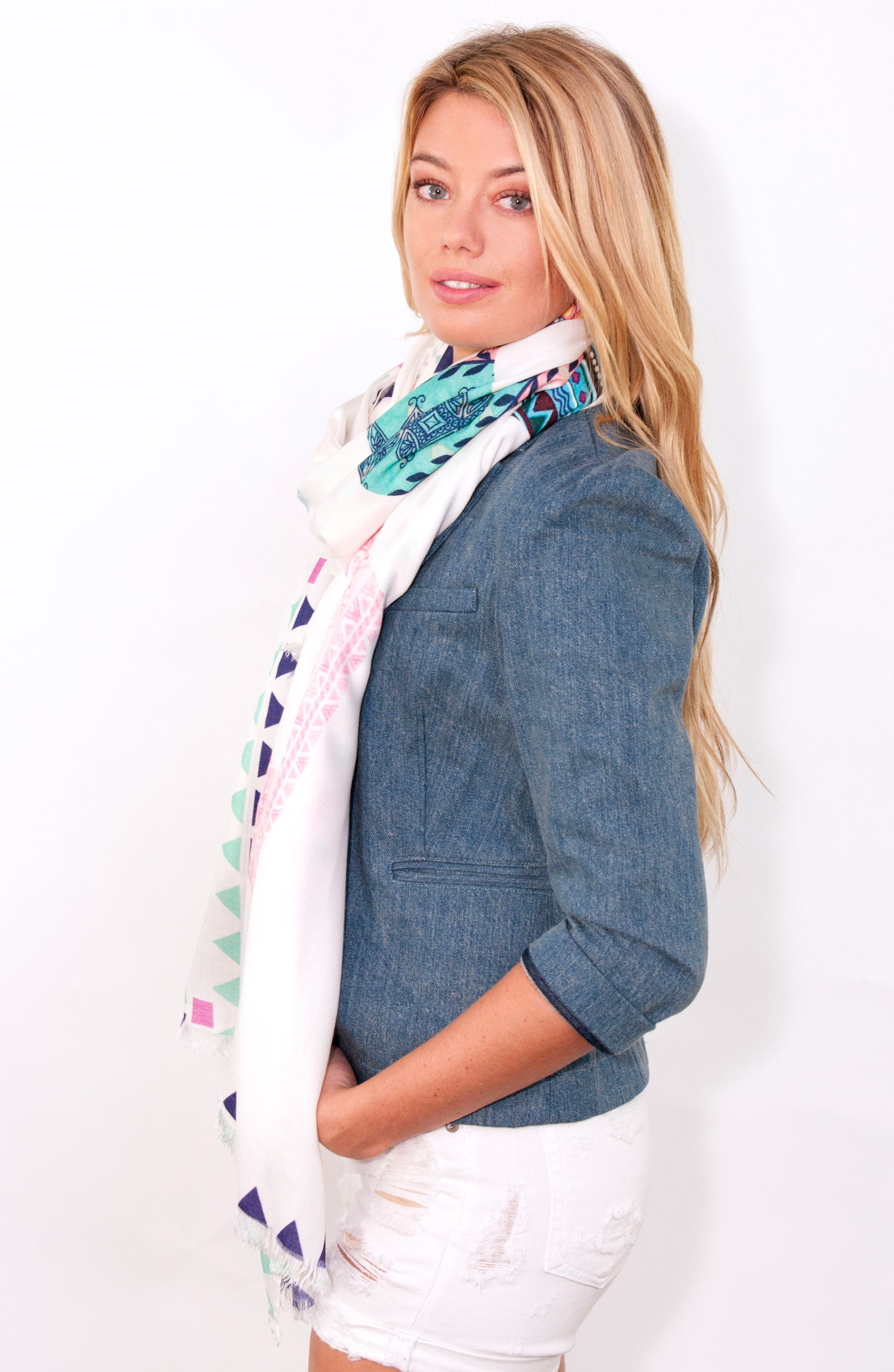 Wrap Yourself in Positive Vibes - Squad Scarf,                             Alternate thumbnail 7, color,                             White