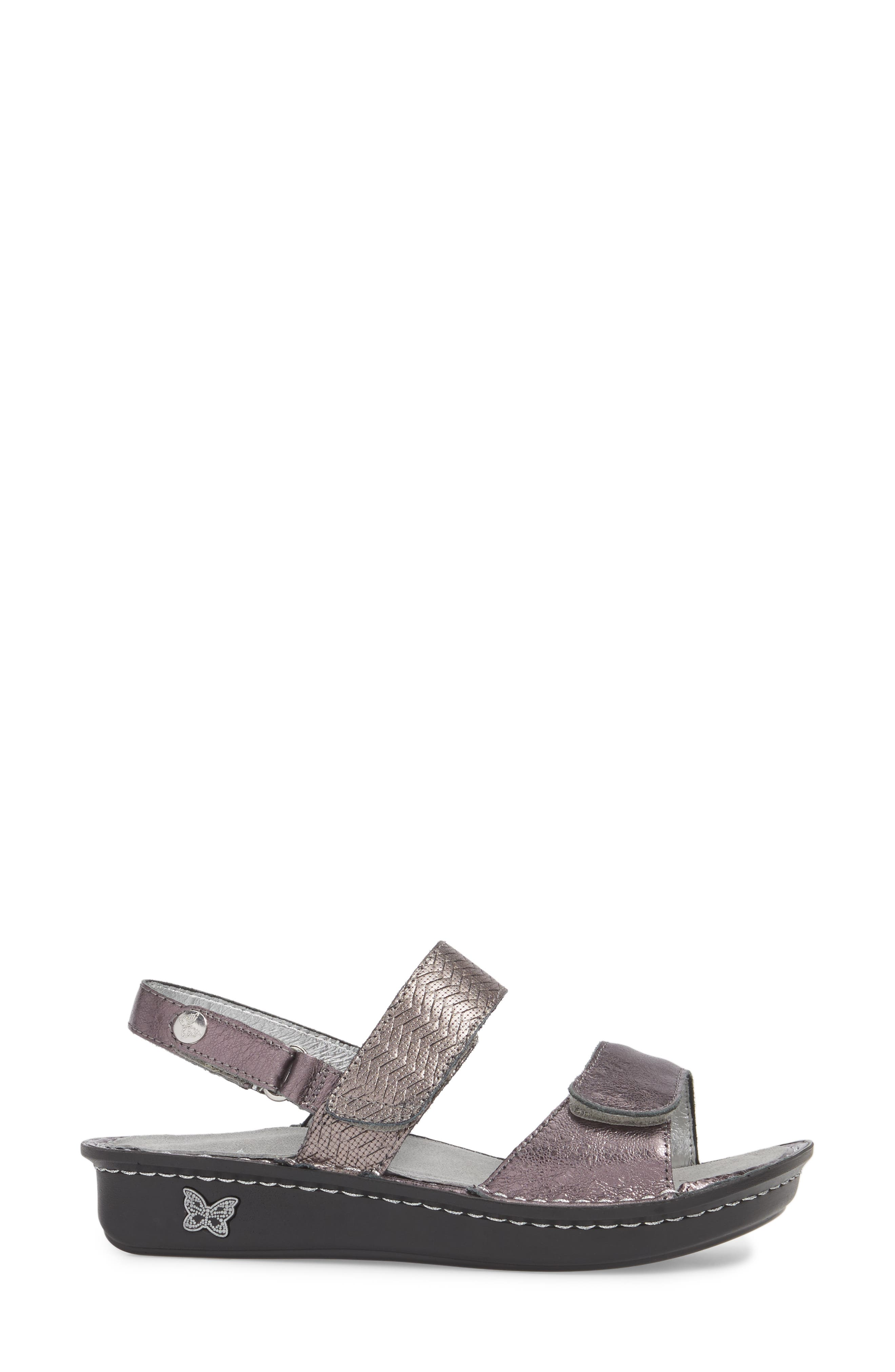 'Verona' Sandal,                             Alternate thumbnail 3, color,                             Braided Pewter Leather