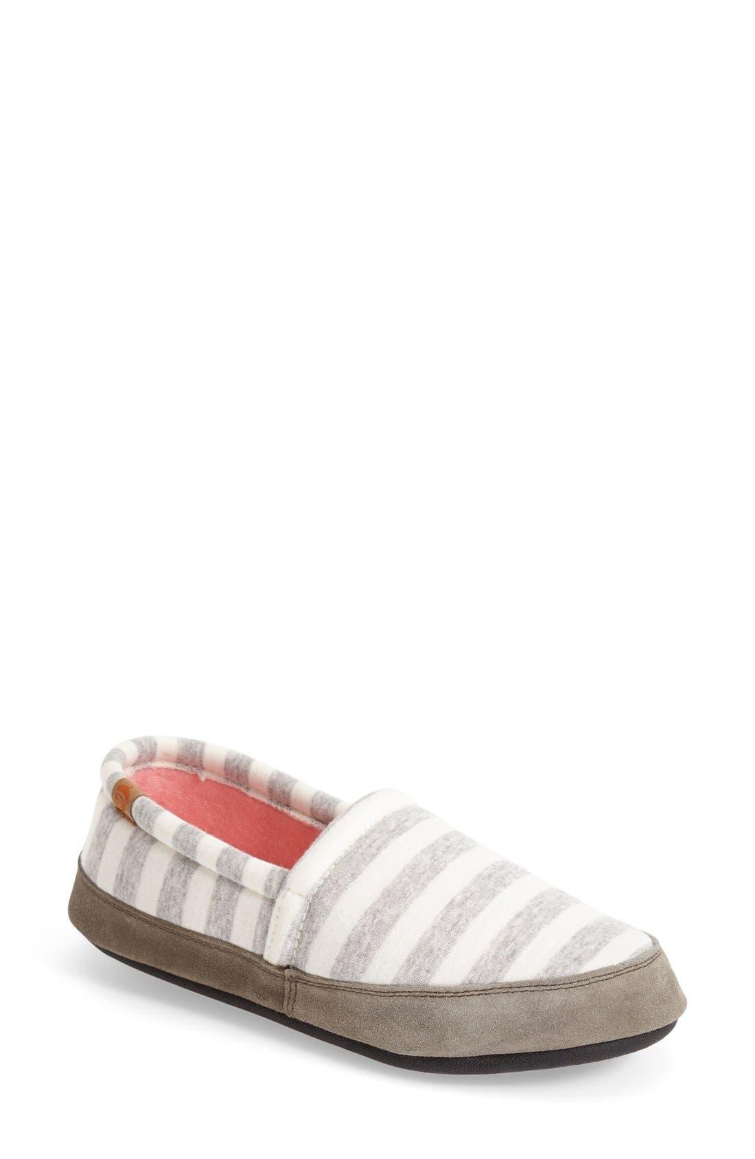 Summer Weight Moc Slipper,                         Main,                         color, White Stripe