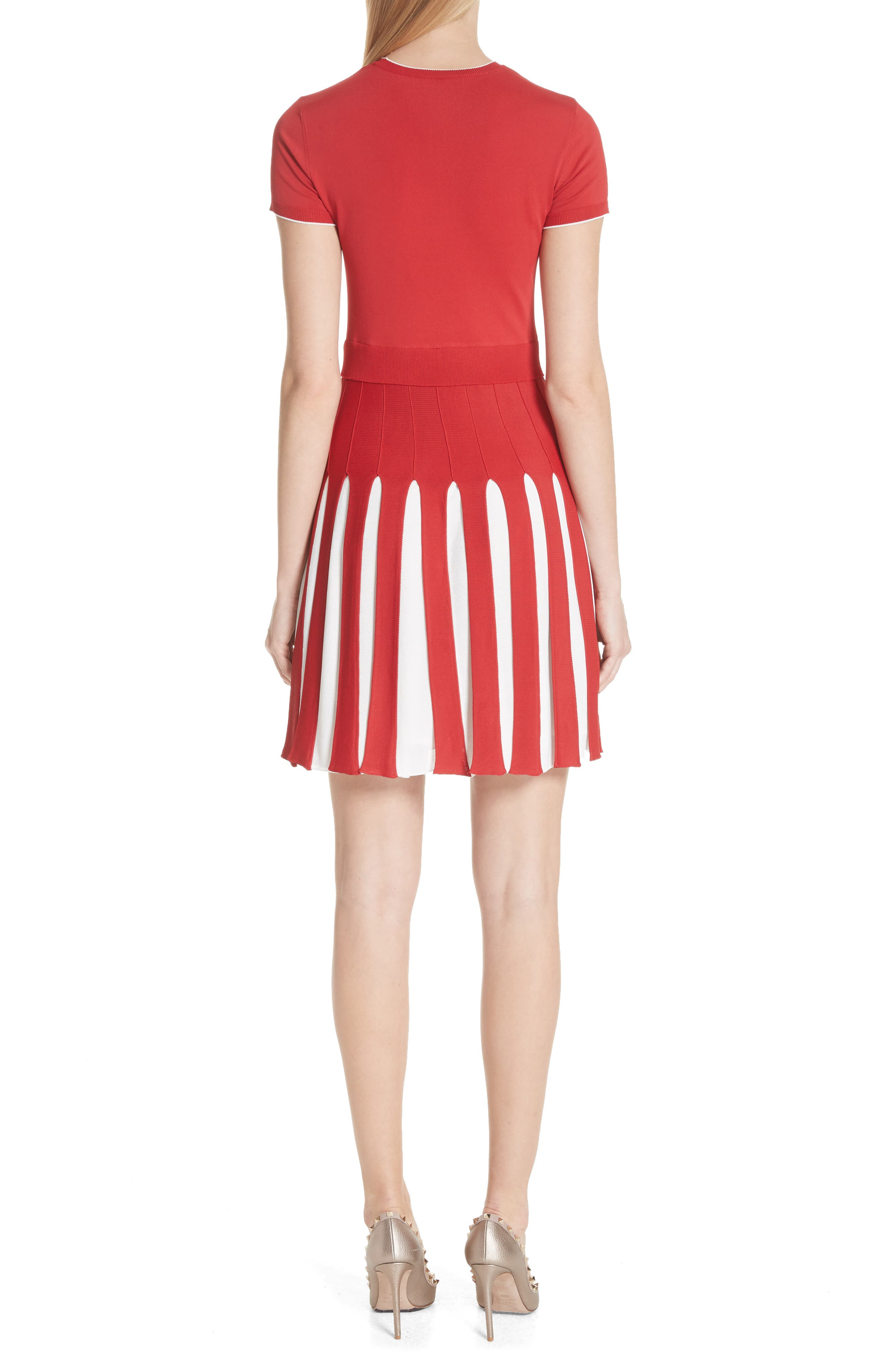 Bicolor Pleated Minidress,                             Alternate thumbnail 2, color,                             Red