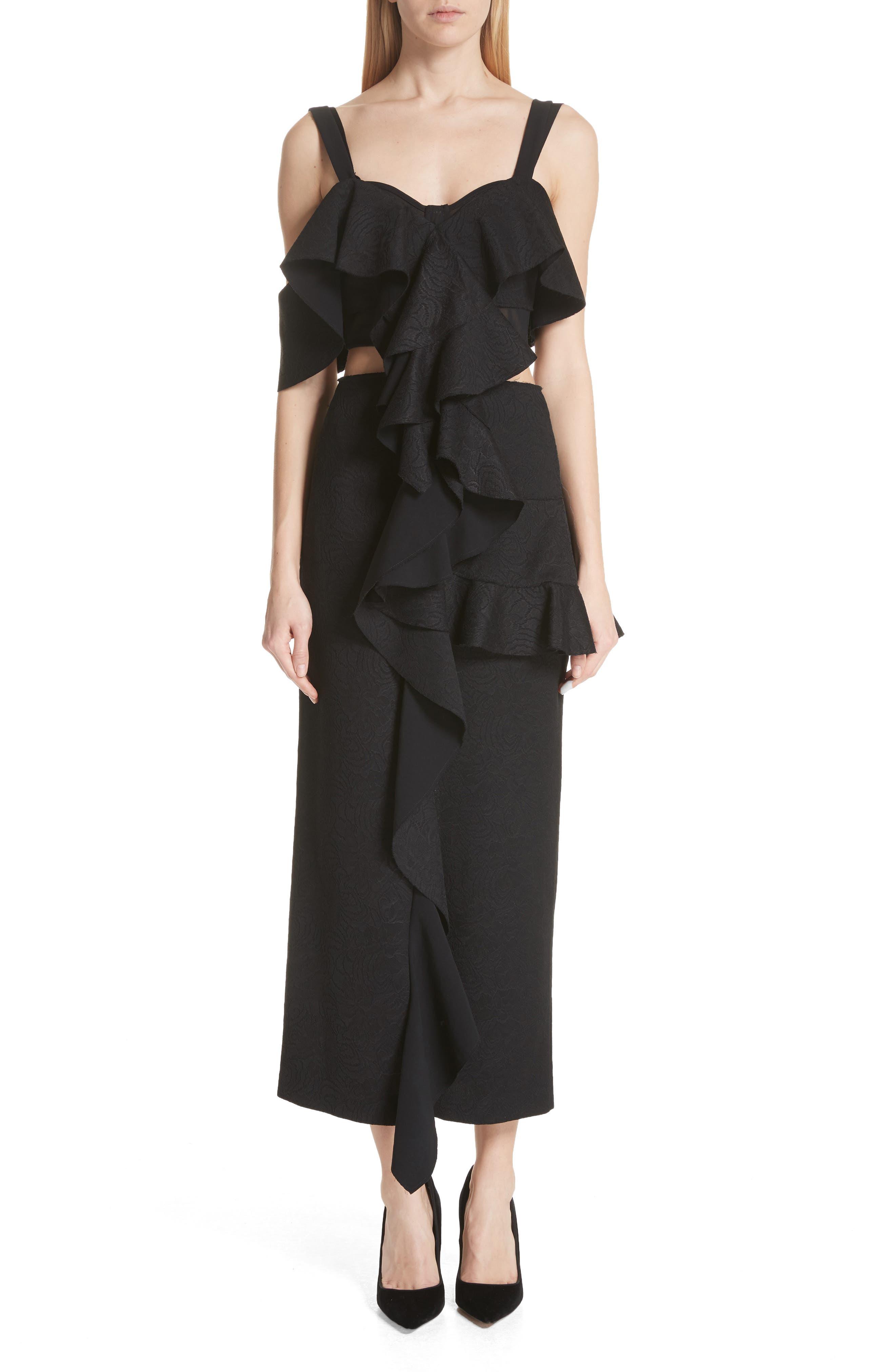 Ruffle Midi Dress,                             Main thumbnail 1, color,                             Black