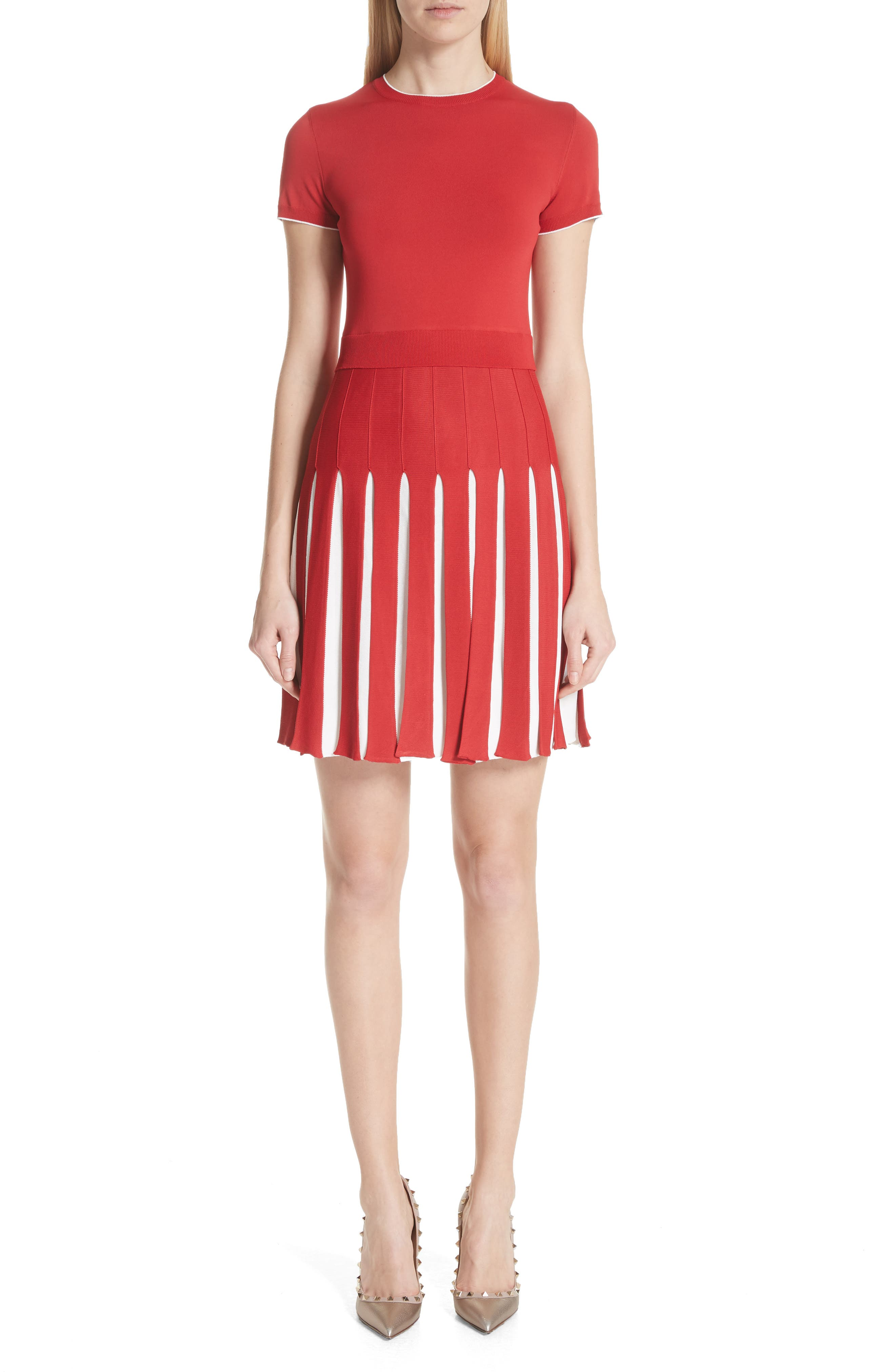 Bicolor Pleated Minidress,                         Main,                         color, Red