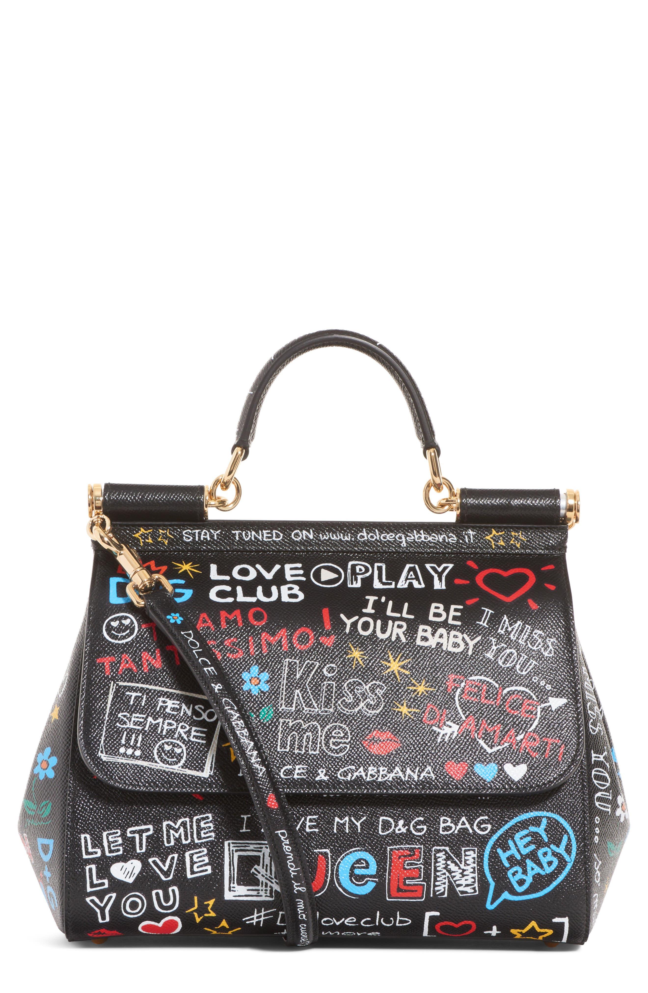Dolce&Gabbana Medium Sicily Graffiti Print Leather Satchel
