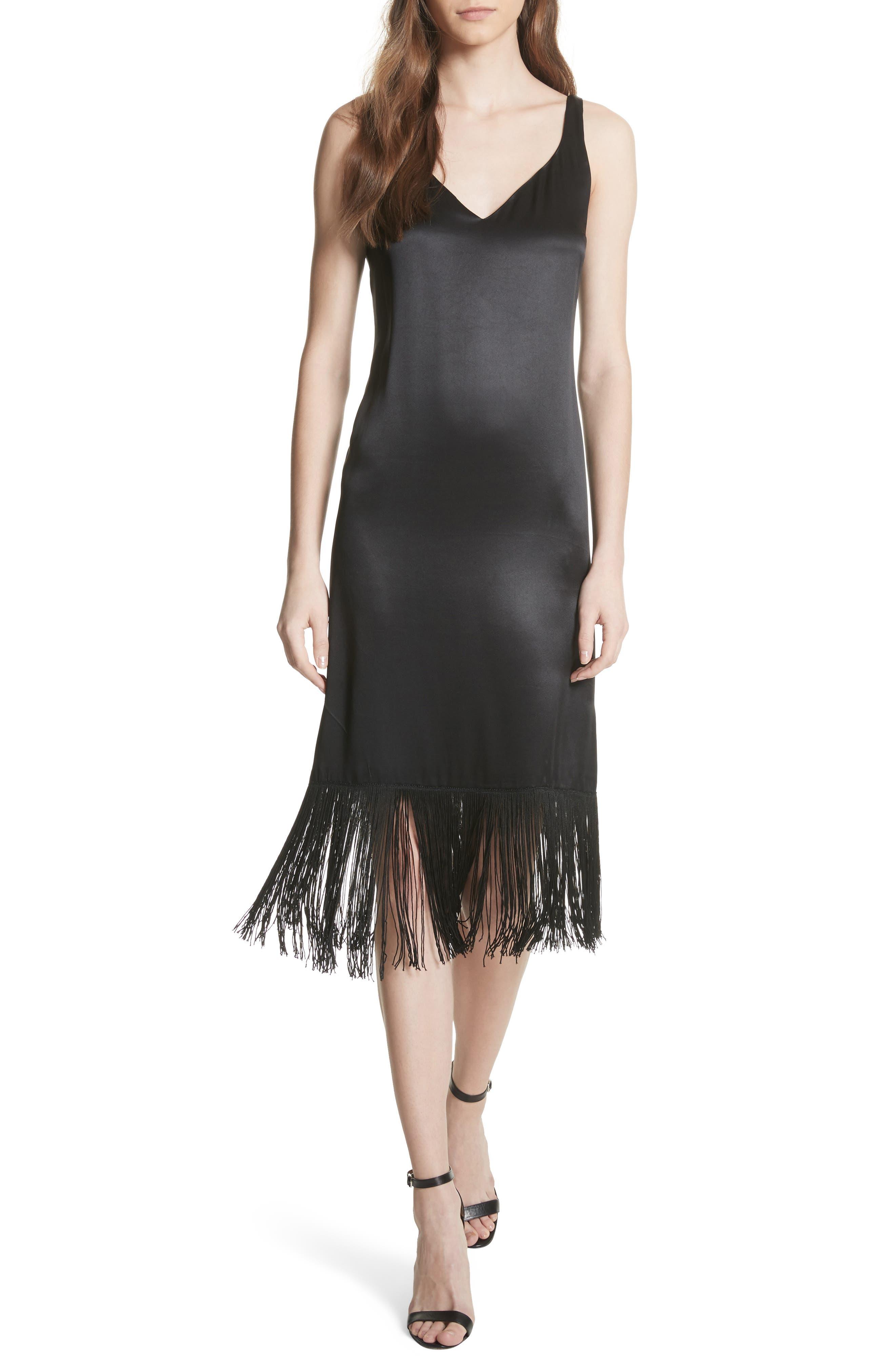 Fringe Silk Midi Dress,                             Main thumbnail 1, color,                             Black