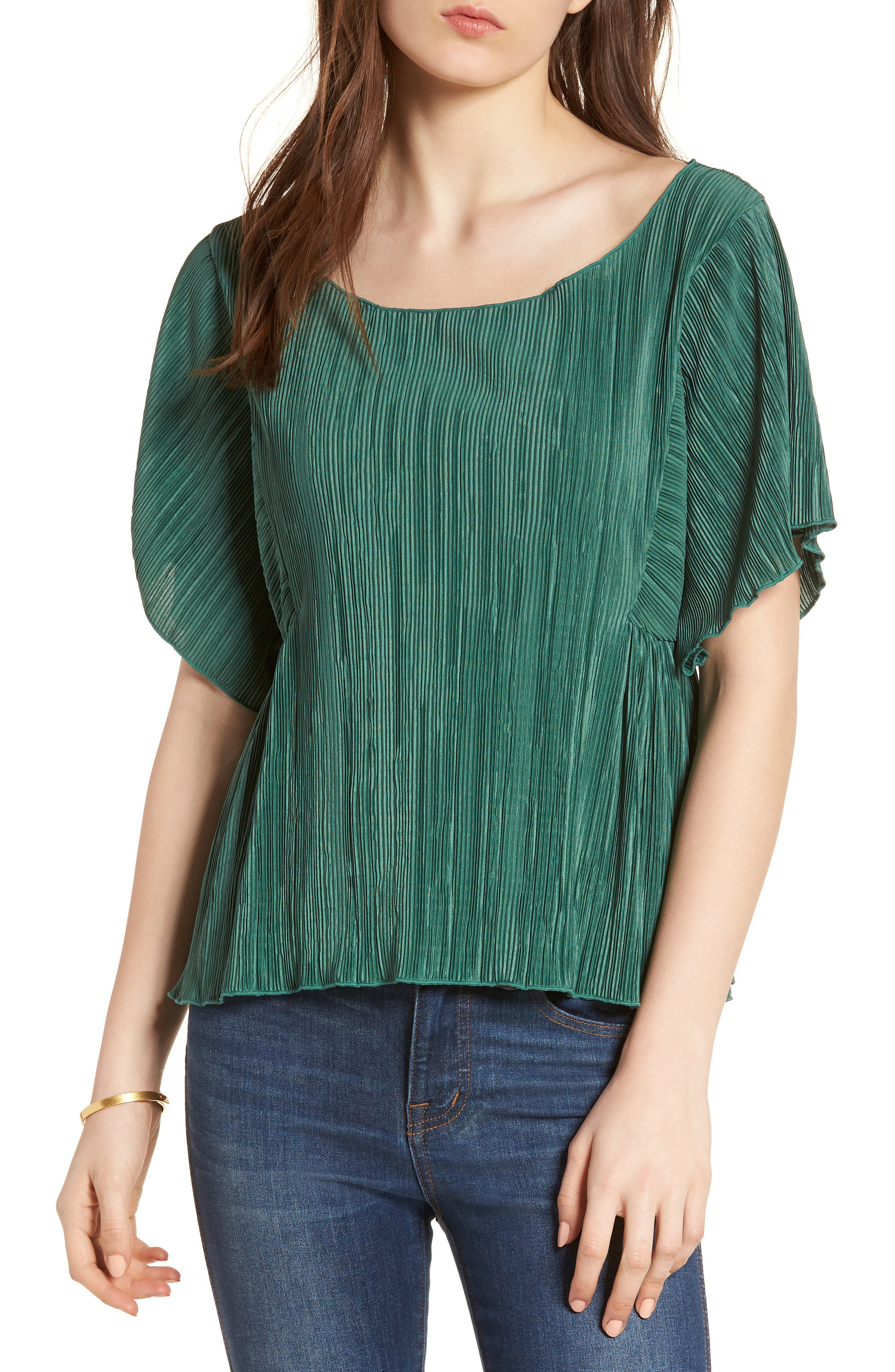 Micropleat Top,                         Main,                         color, Dark Green