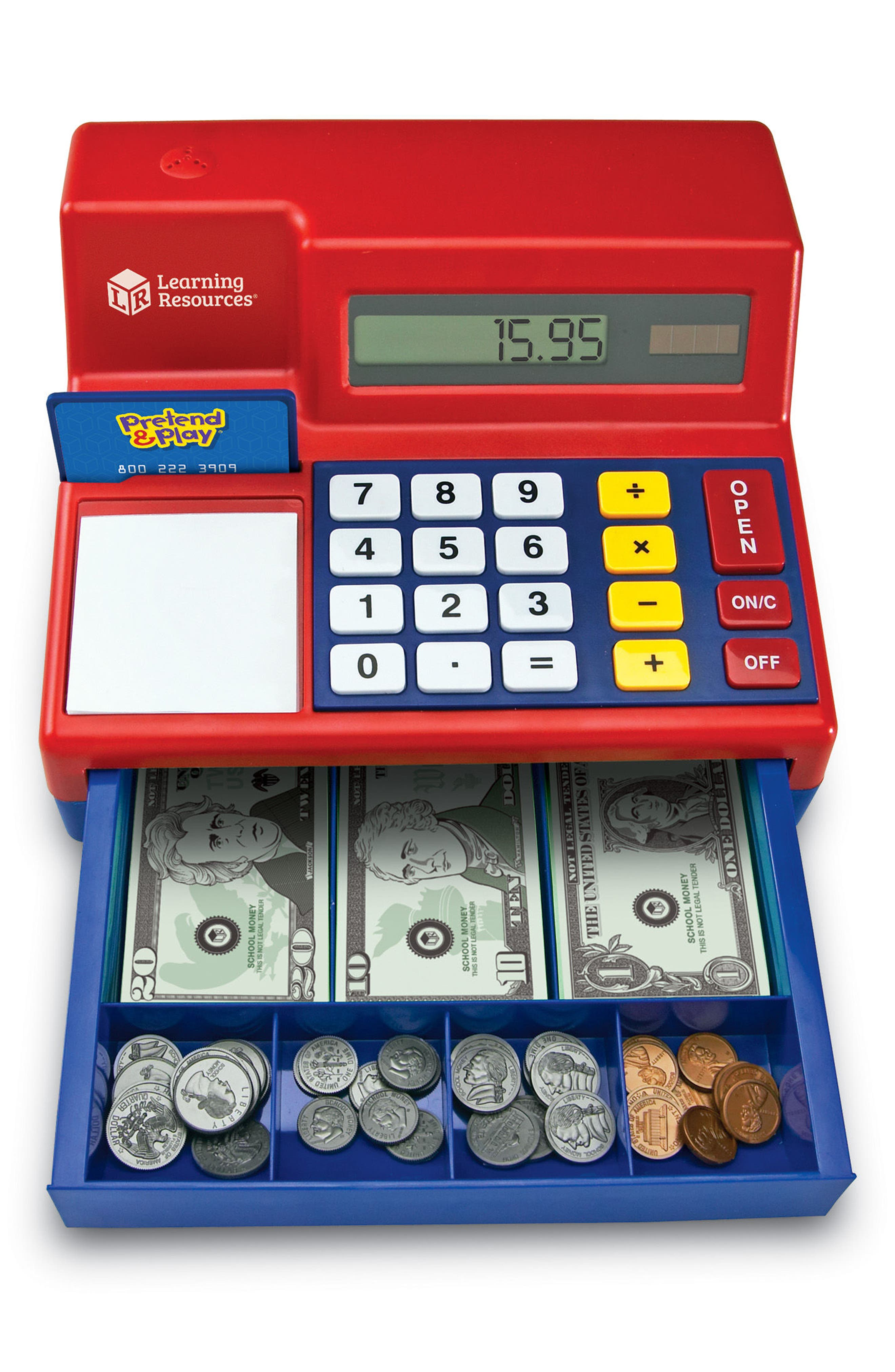 73-Piece Calculator Cash Register Toy,                             Alternate thumbnail 2, color,                             Red