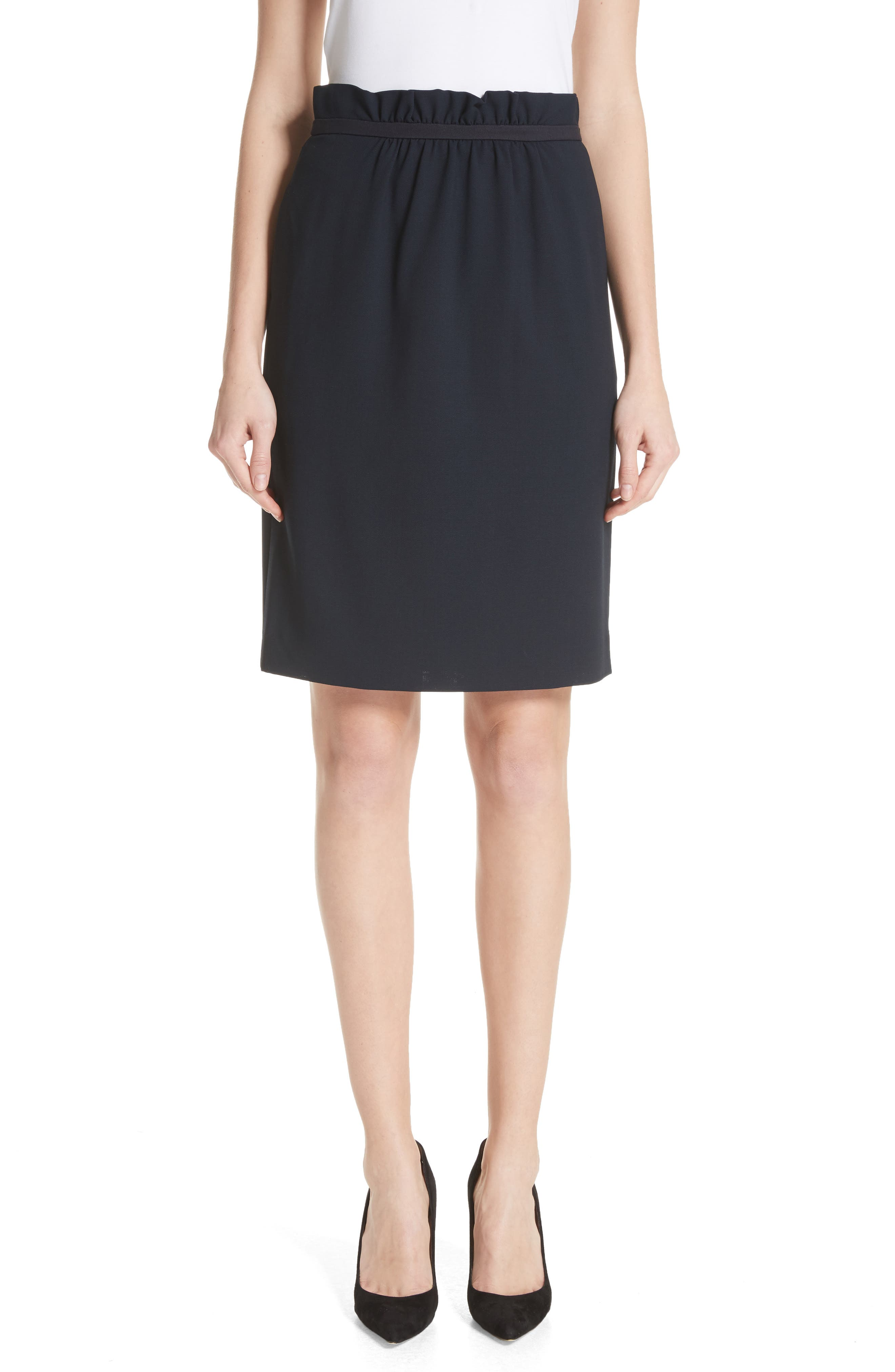 Stretch Wool Crepe Skirt,                         Main,                         color, Navy