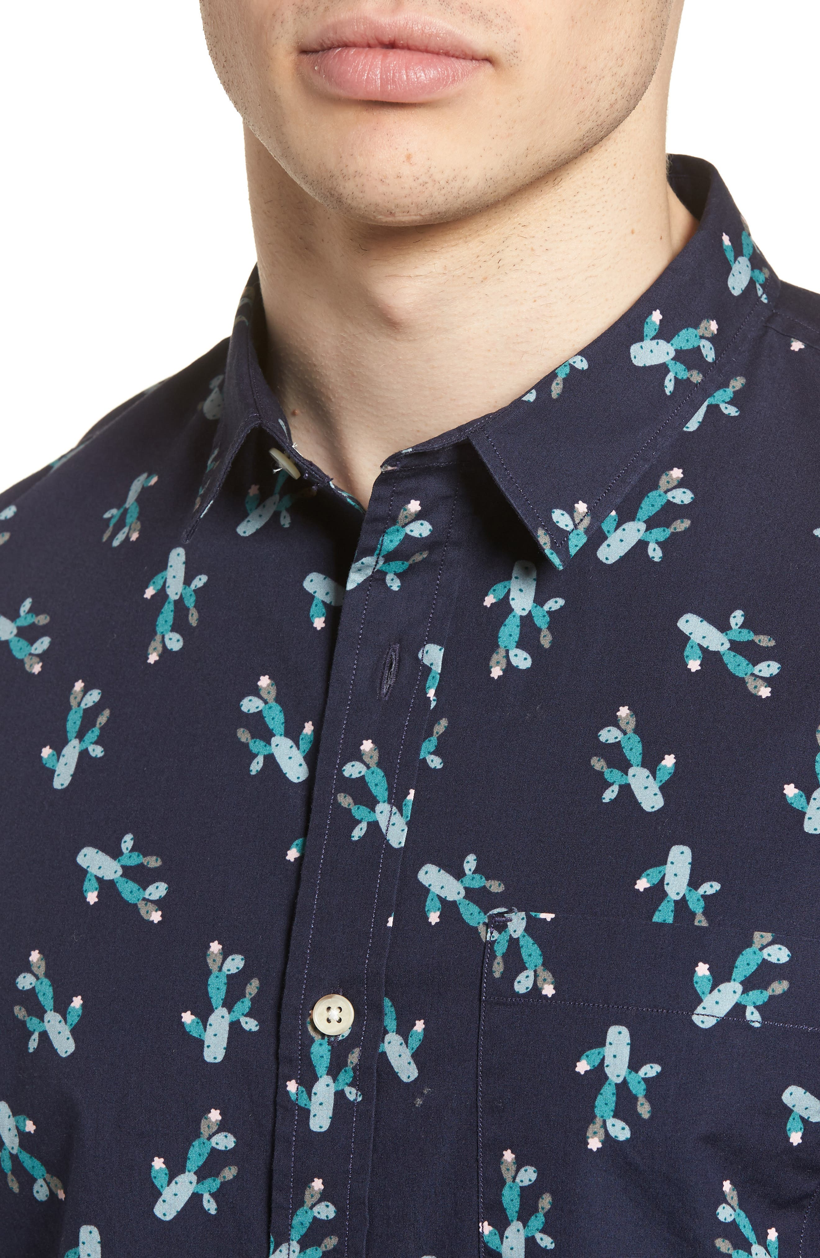 Print Woven Shirt,                             Alternate thumbnail 2, color,                             Navy Iris Cactus Print