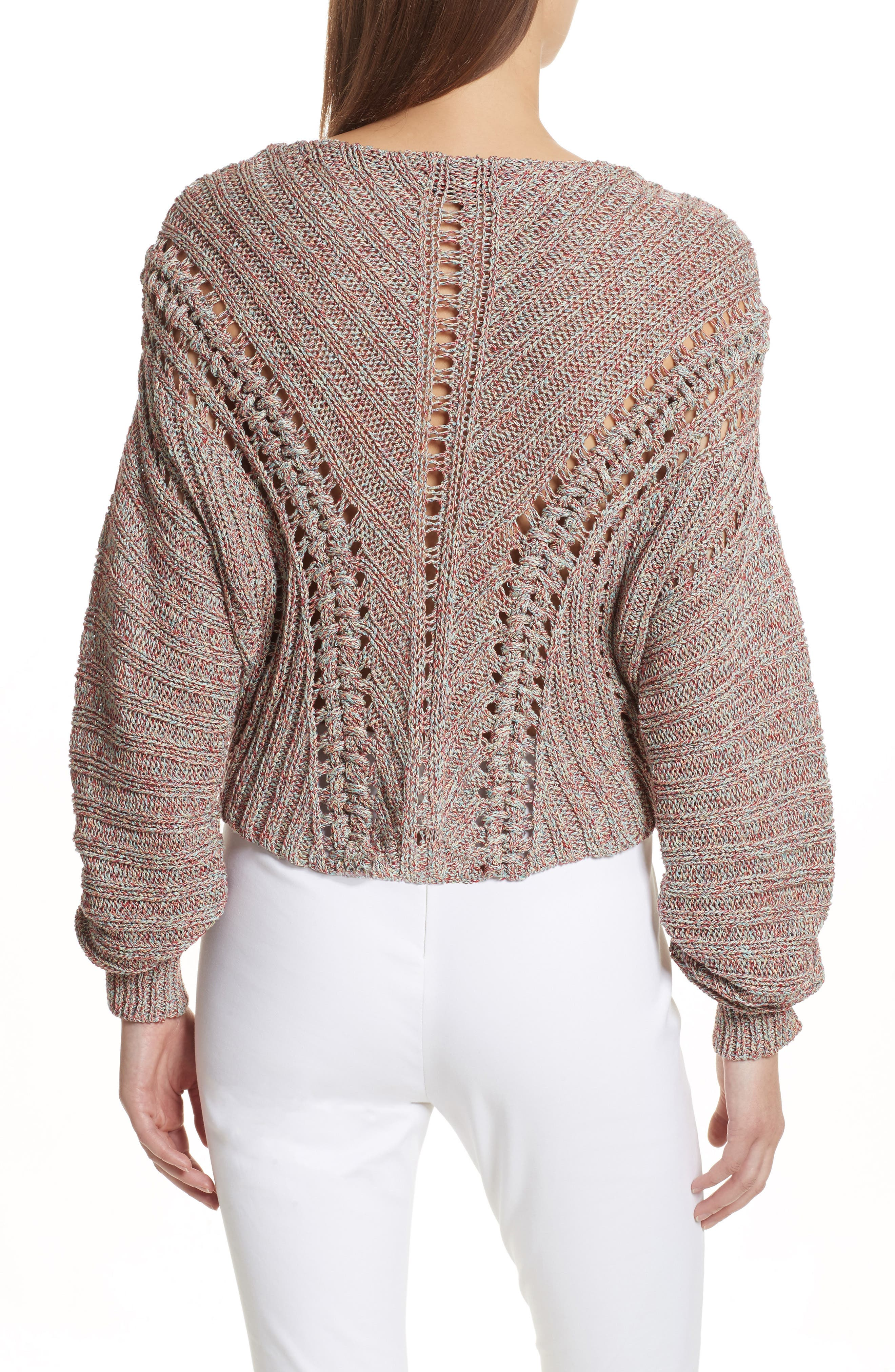 Roman Pointelle Ribbed Sweater,                             Alternate thumbnail 3, color,                             Pink