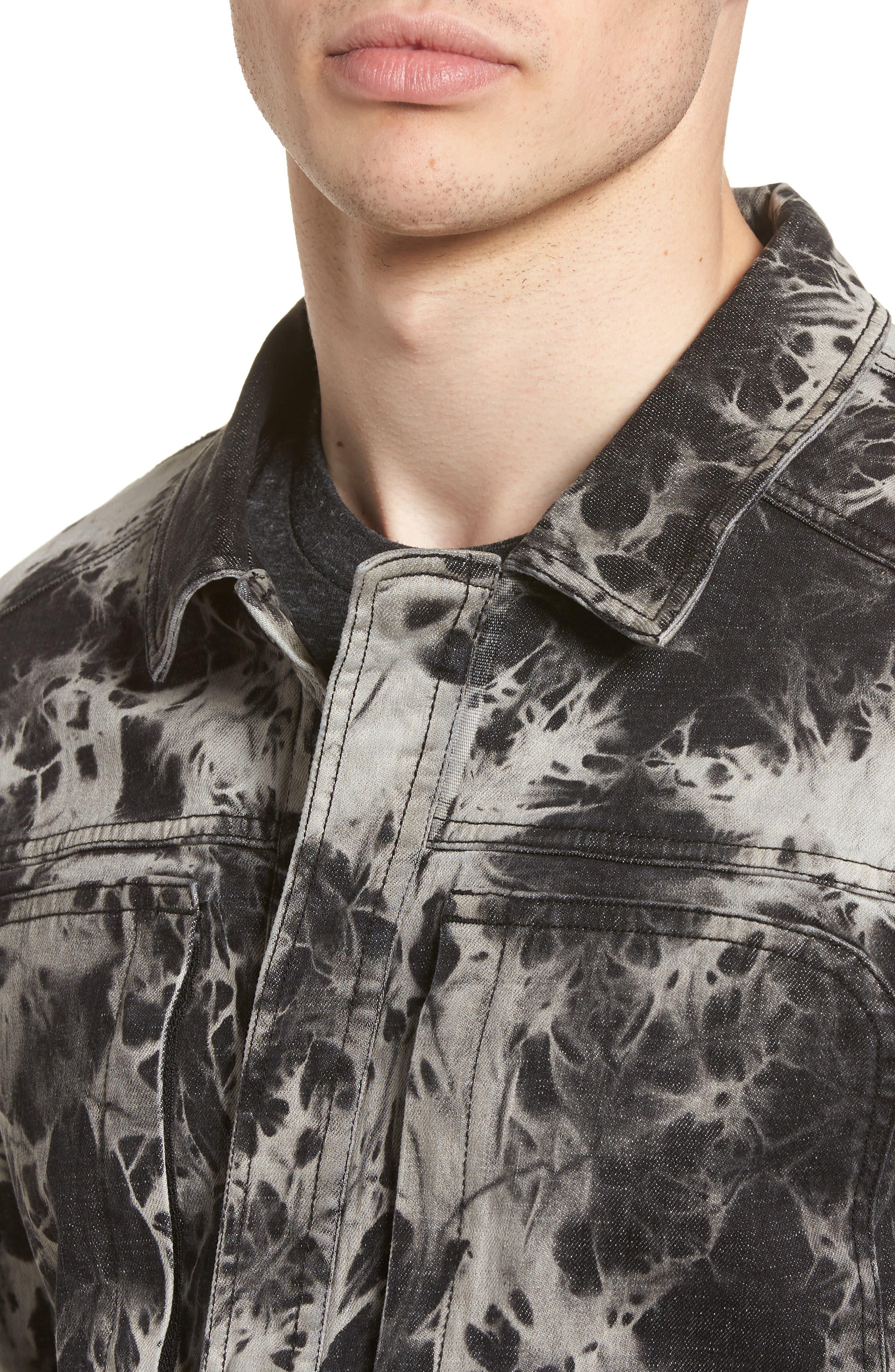 Bleach Tie Dye Denim Jacket,                             Alternate thumbnail 4, color,                             Black