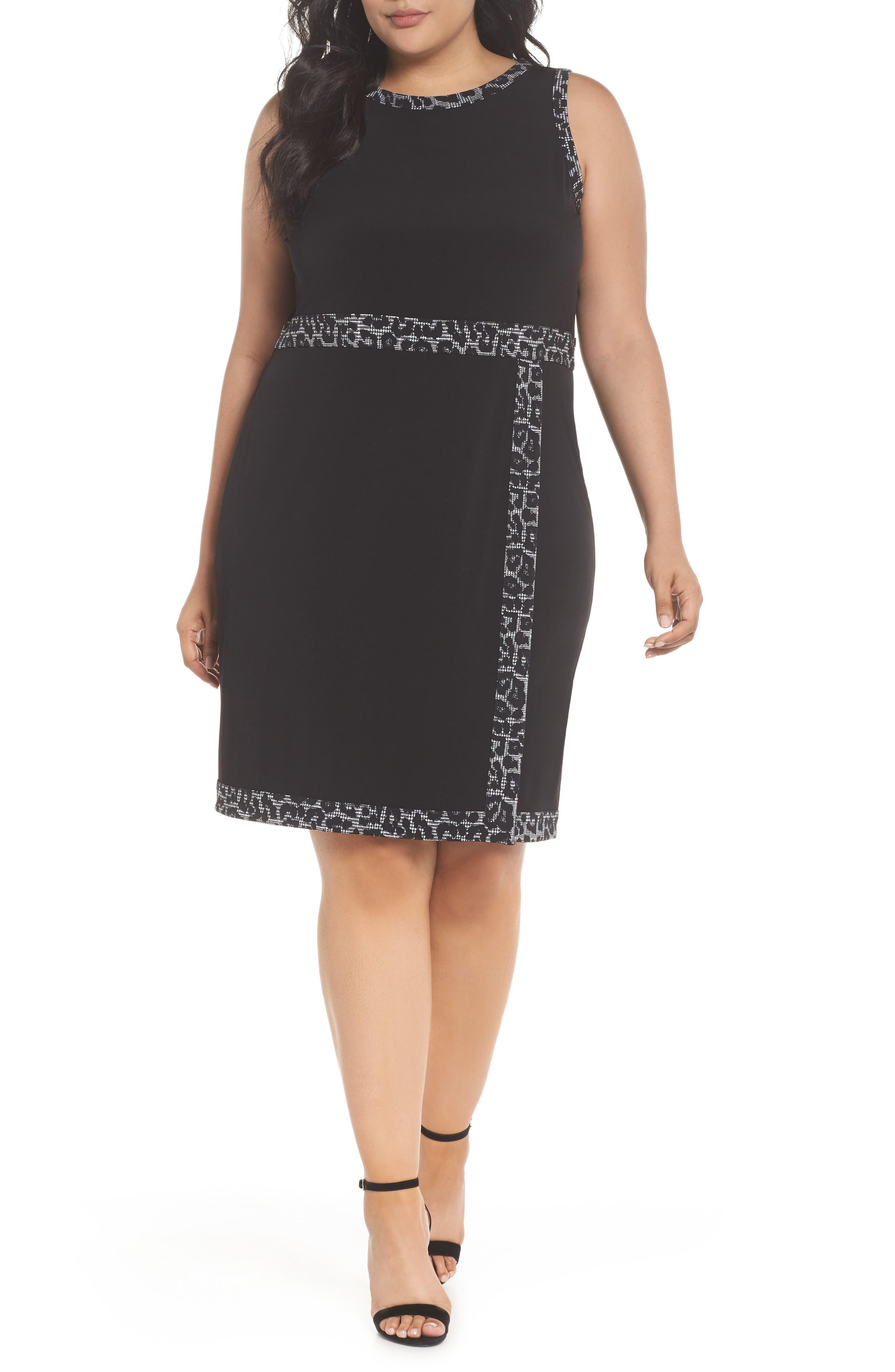 Print Trim Mock Wrap Sheath Dress,                             Main thumbnail 1, color,                             Black