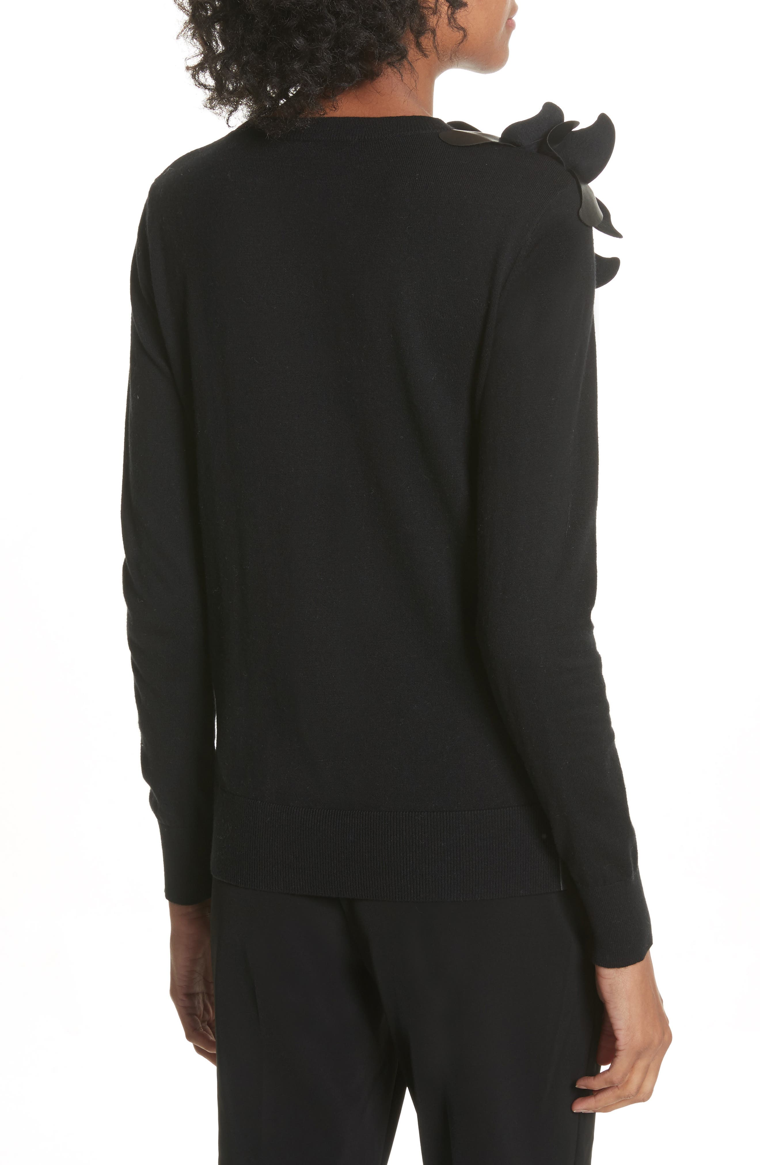 Leather Front Sweater,                             Alternate thumbnail 2, color,                             Black