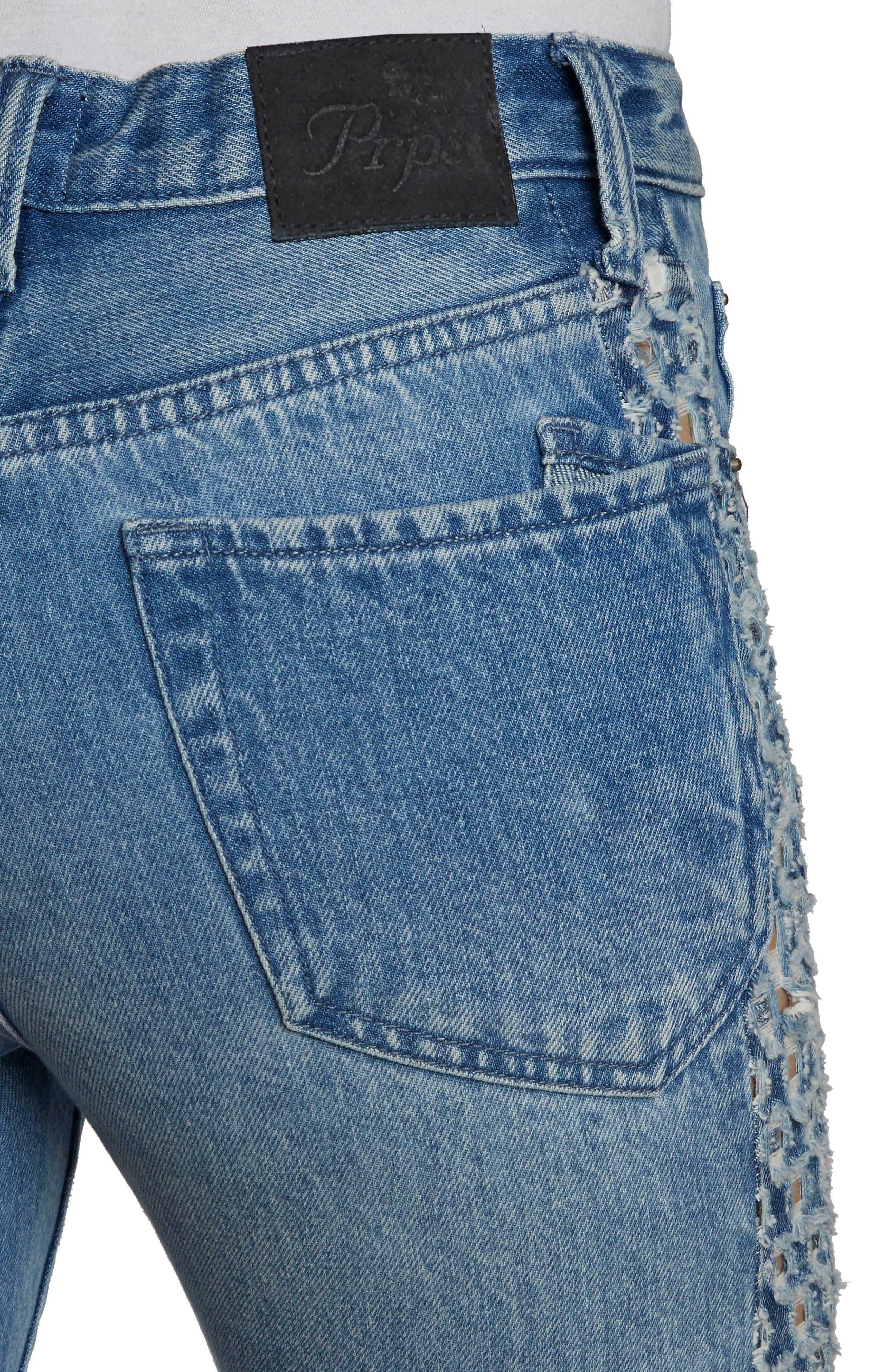 AMX Cutout Side Fray Hem Ankle Jeans,                             Alternate thumbnail 4, color,                             Light Stone