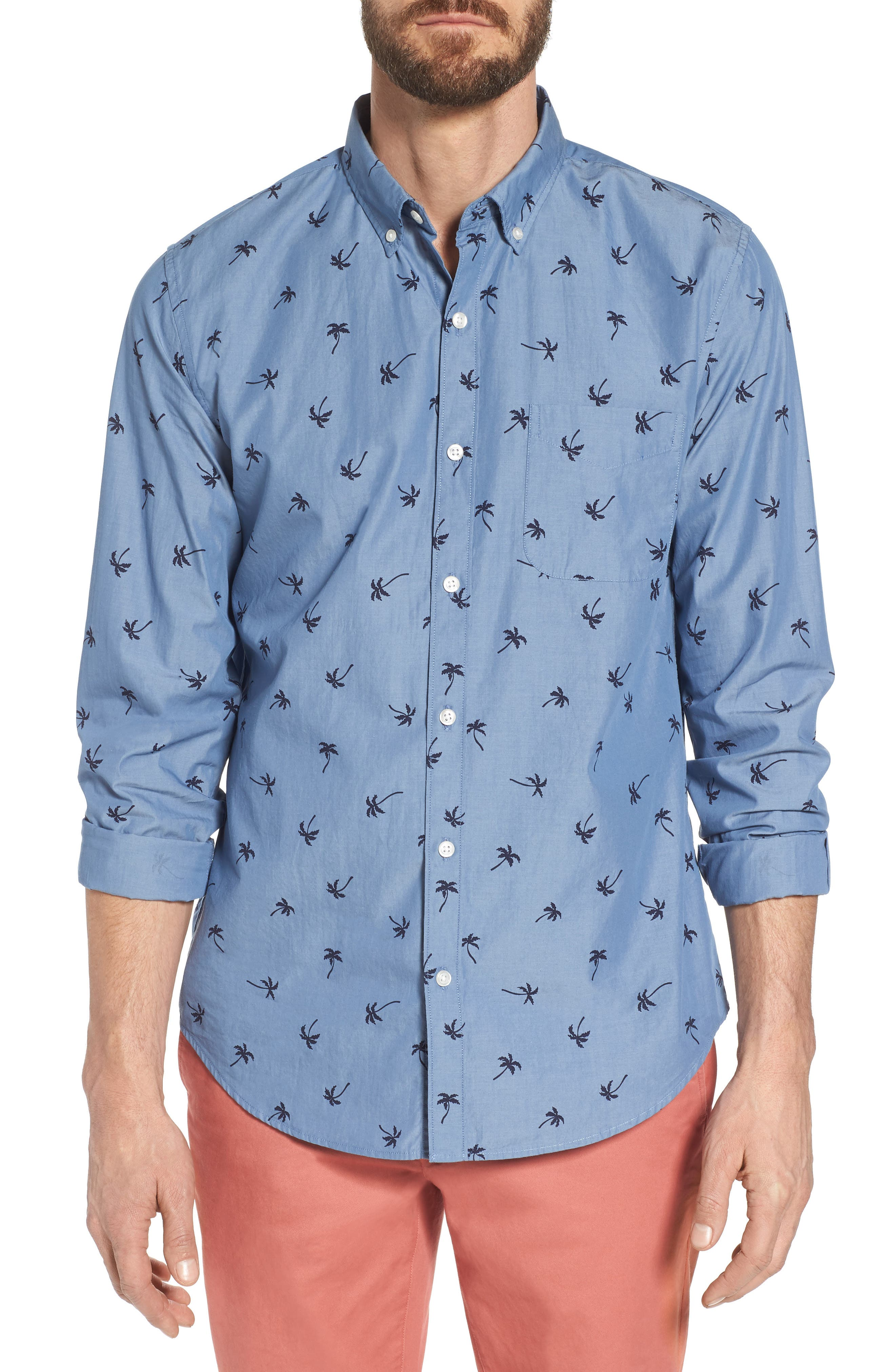 Slim Fit Print Sport Shirt,                         Main,                         color, Single Palm - Maritime Blue