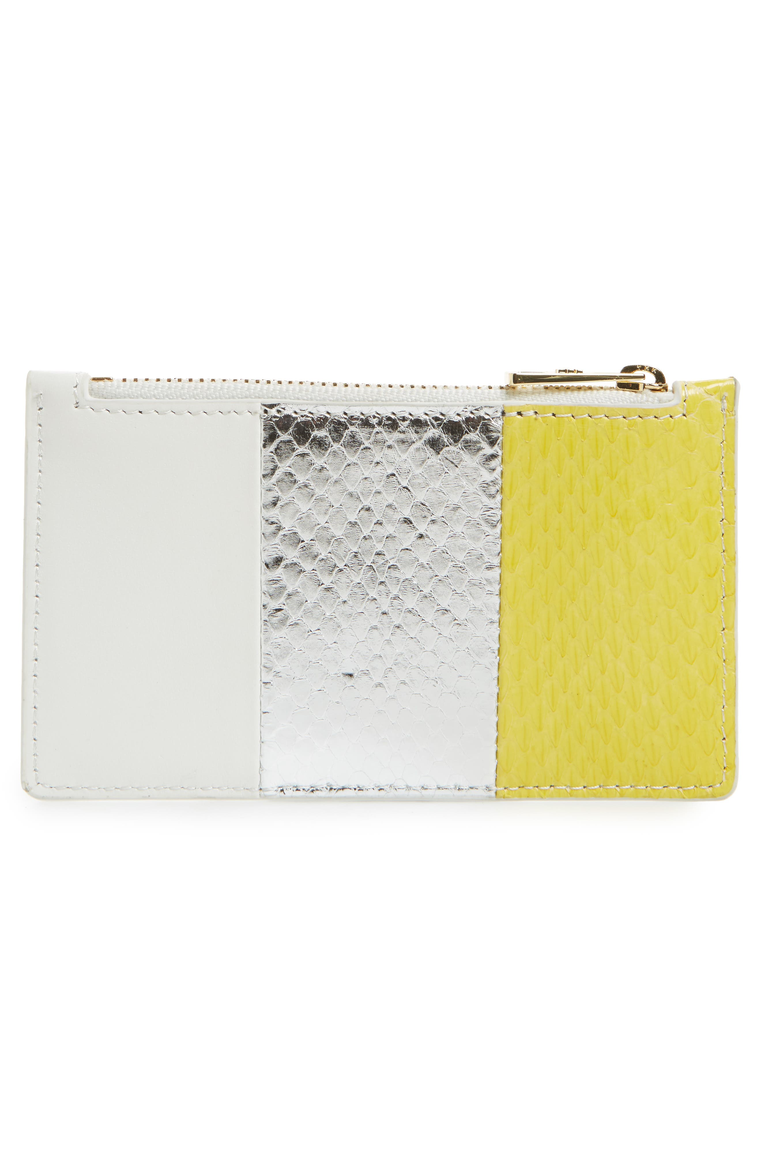 Small Leather & Genuine Snakeskin Card Case,                             Alternate thumbnail 2, color,                             Yellow/ Silver/ White