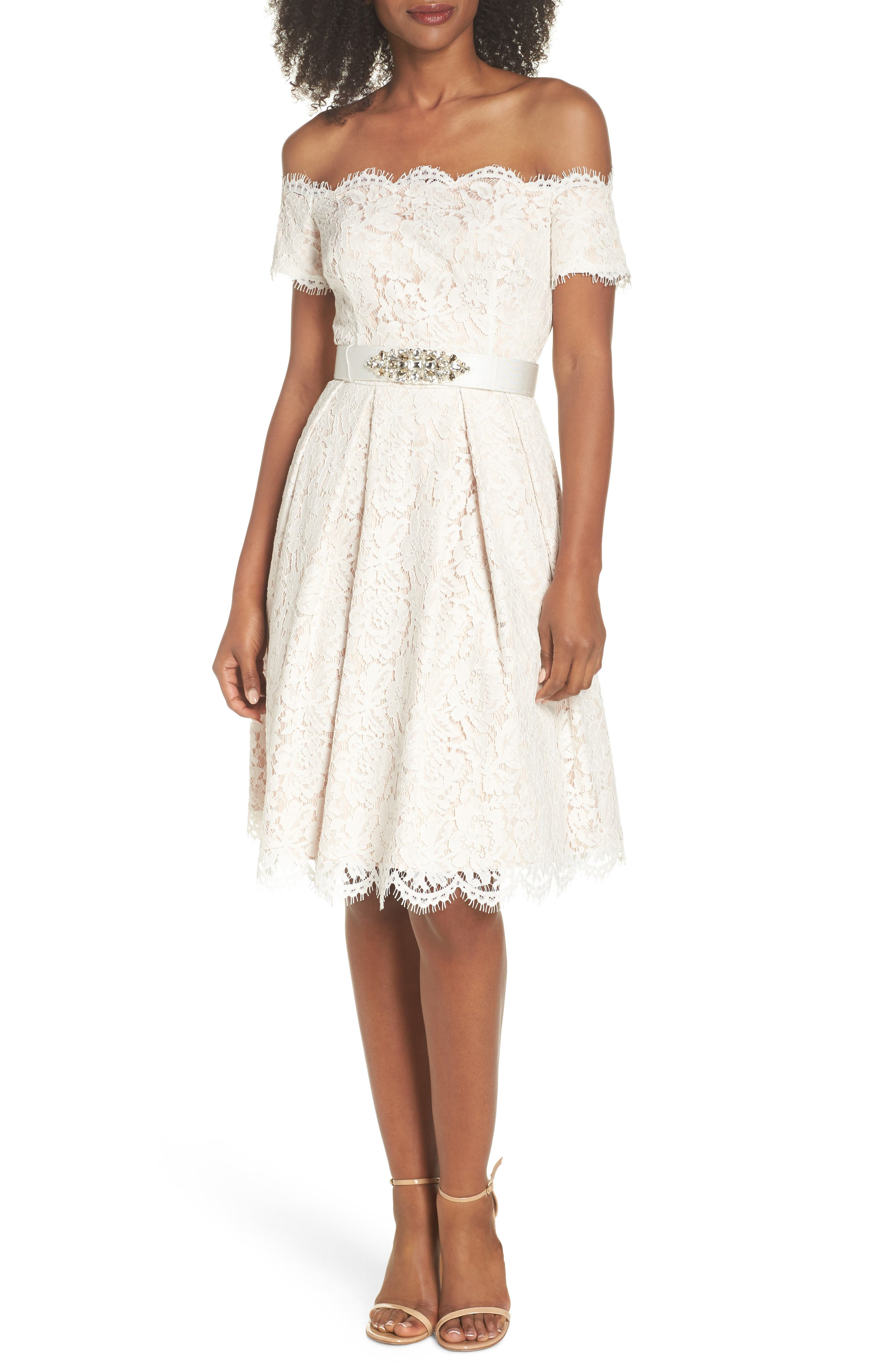 Embellished Lace Fit & Flare Dress,                             Main thumbnail 1, color,                             Ivory