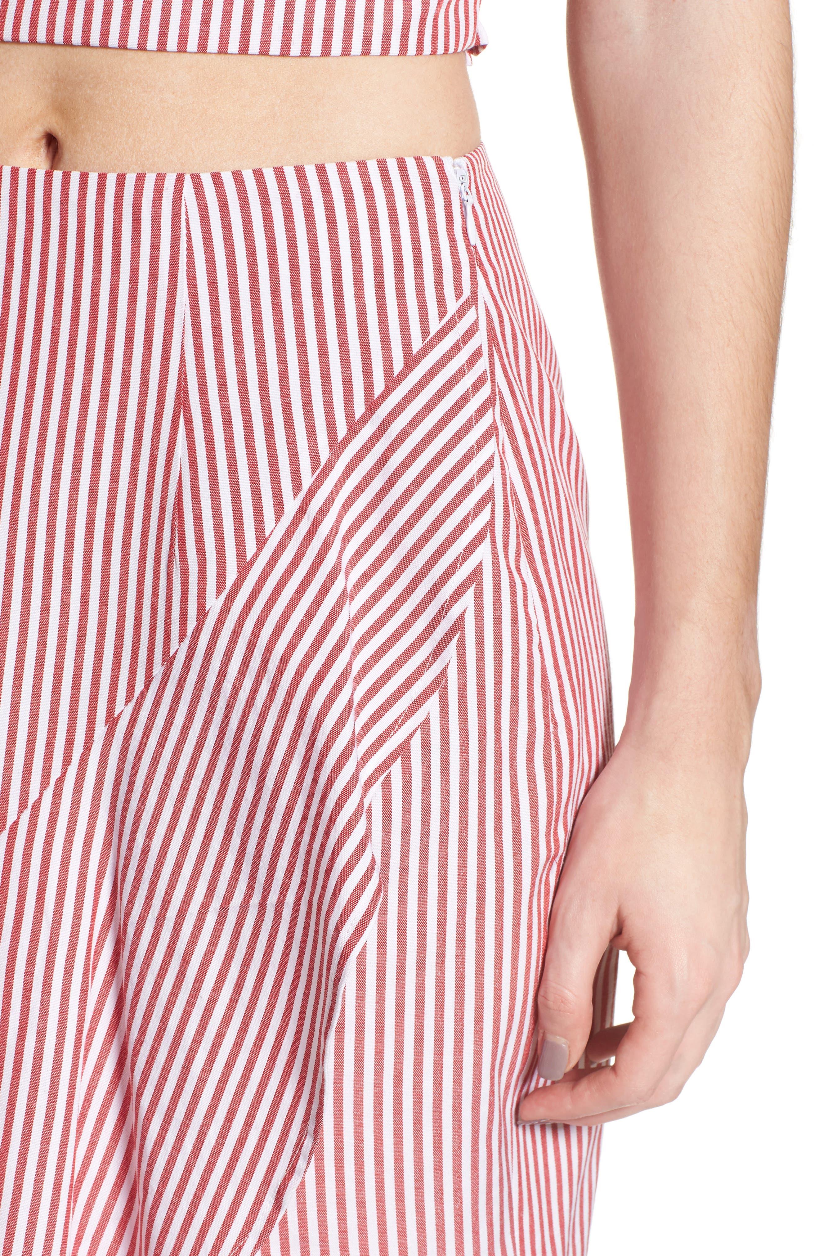Naples Ruffle Skirt,                             Alternate thumbnail 4, color,                             Red Stripe