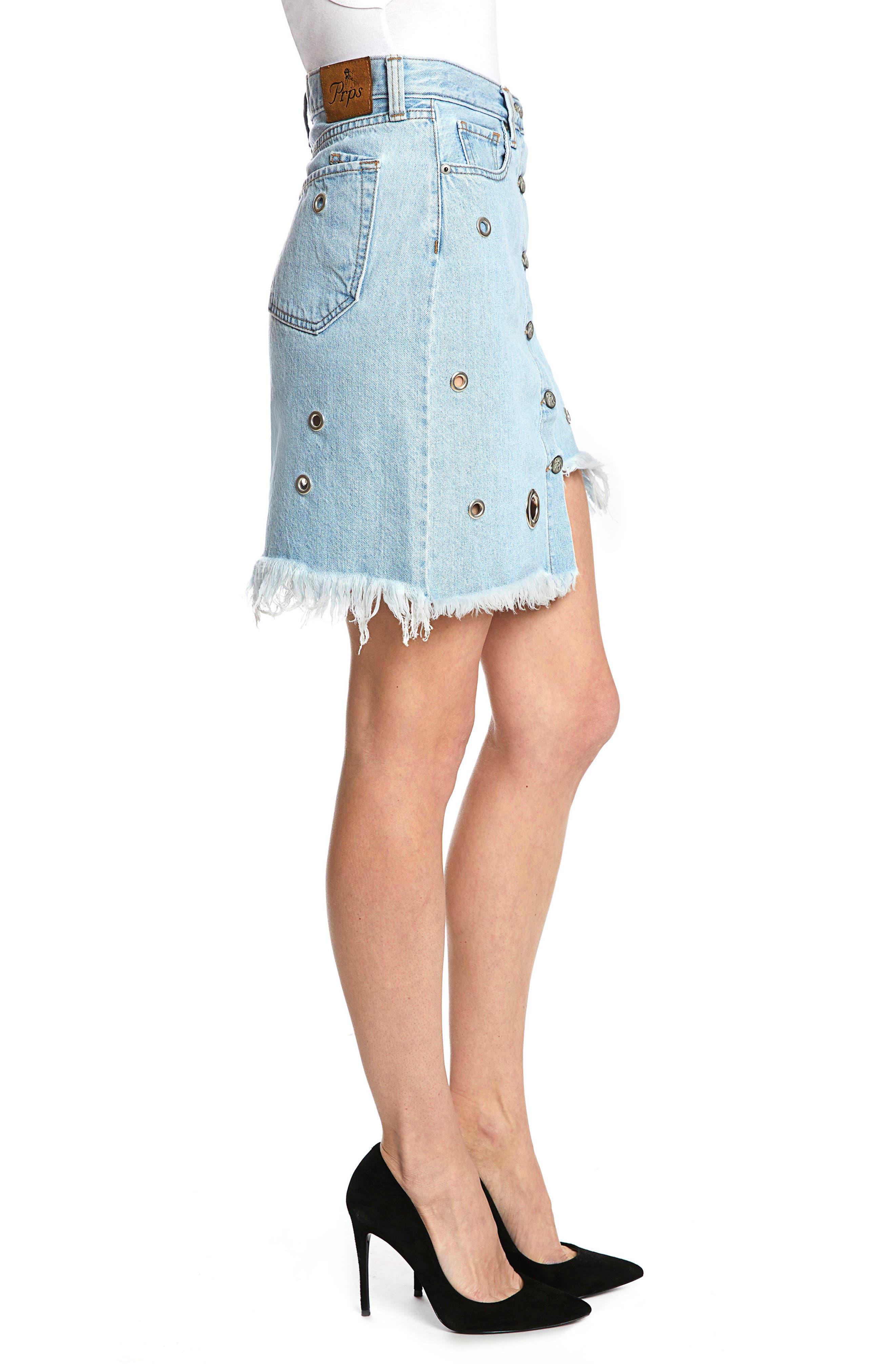 Nomad Grommet Denim Skirt,                             Alternate thumbnail 3, color,                             Light Stone