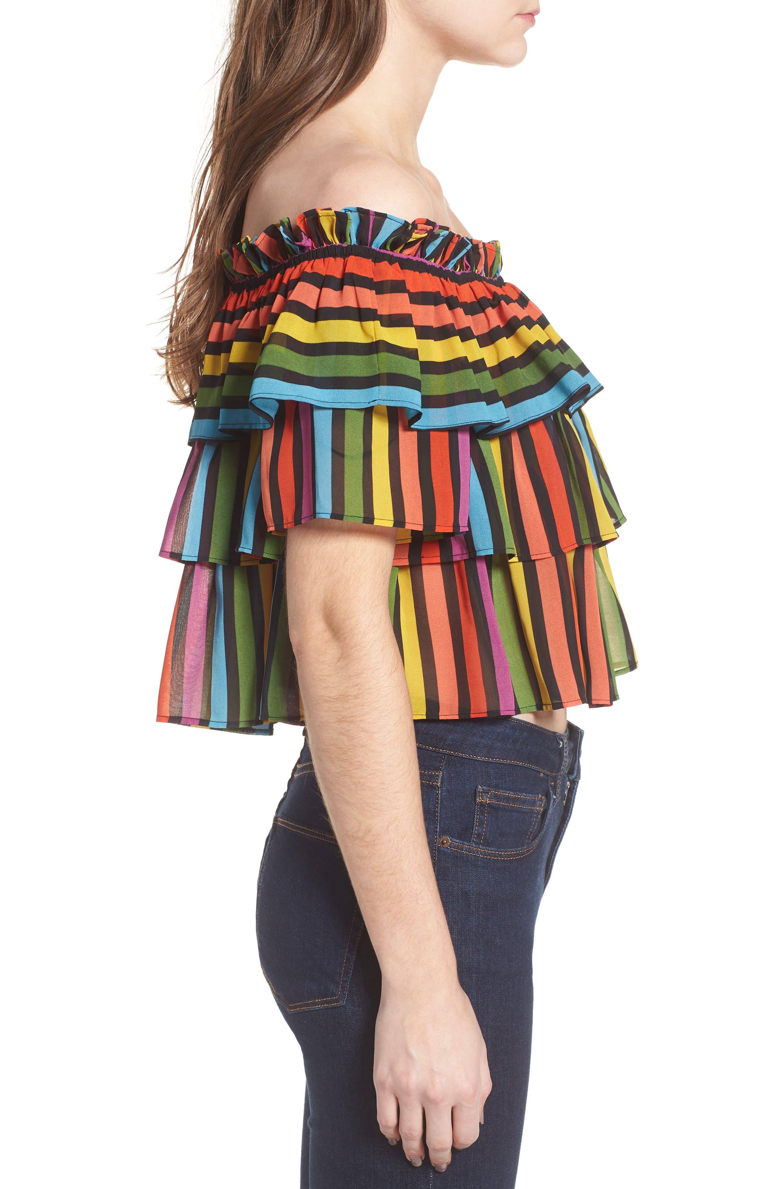 Toulon Tiered Ruffle Top,                             Alternate thumbnail 3, color,                             Rainbow Stripe