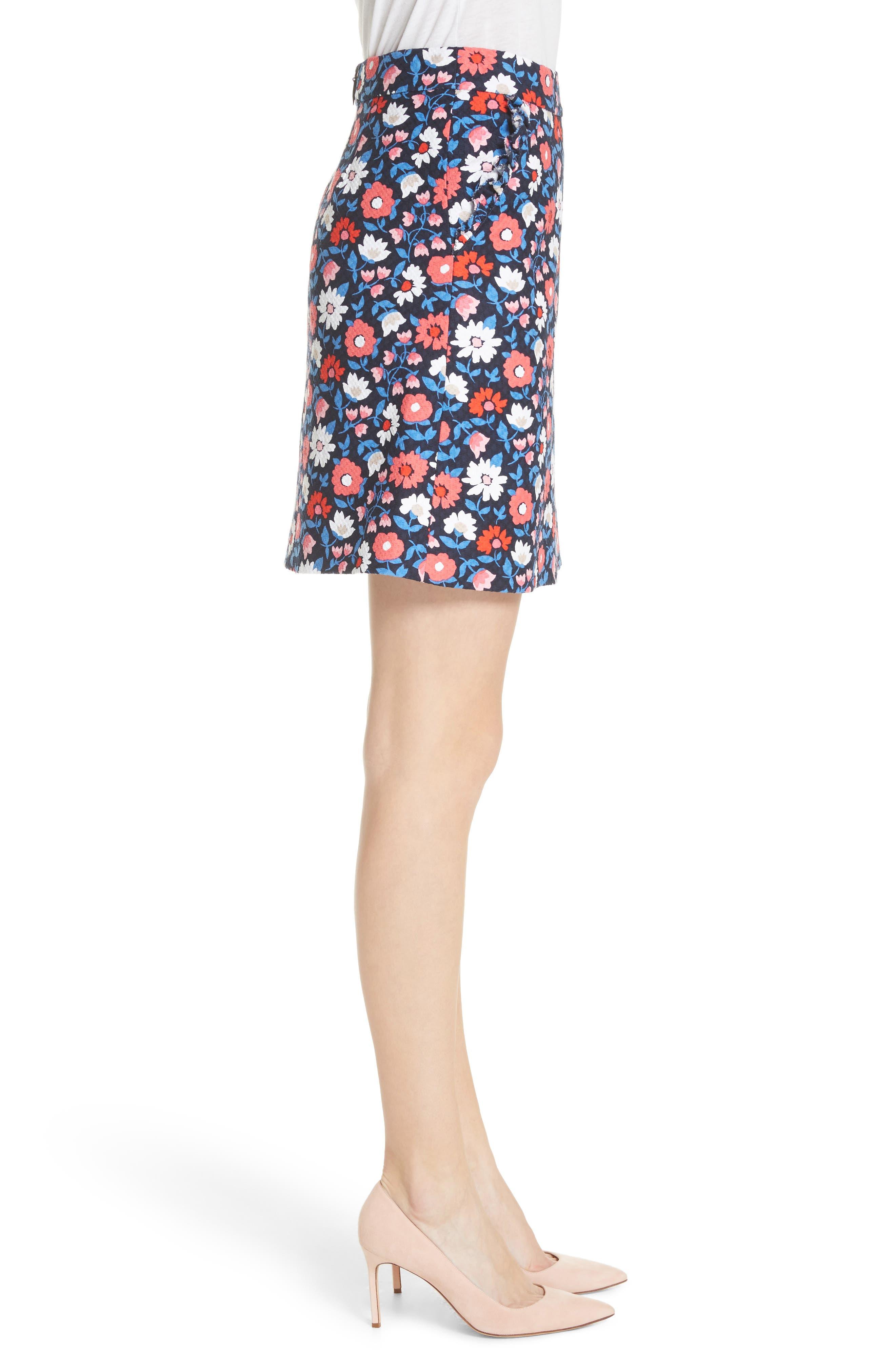daisy jacquard A-line skirt,                             Alternate thumbnail 3, color,                             Rich Navy