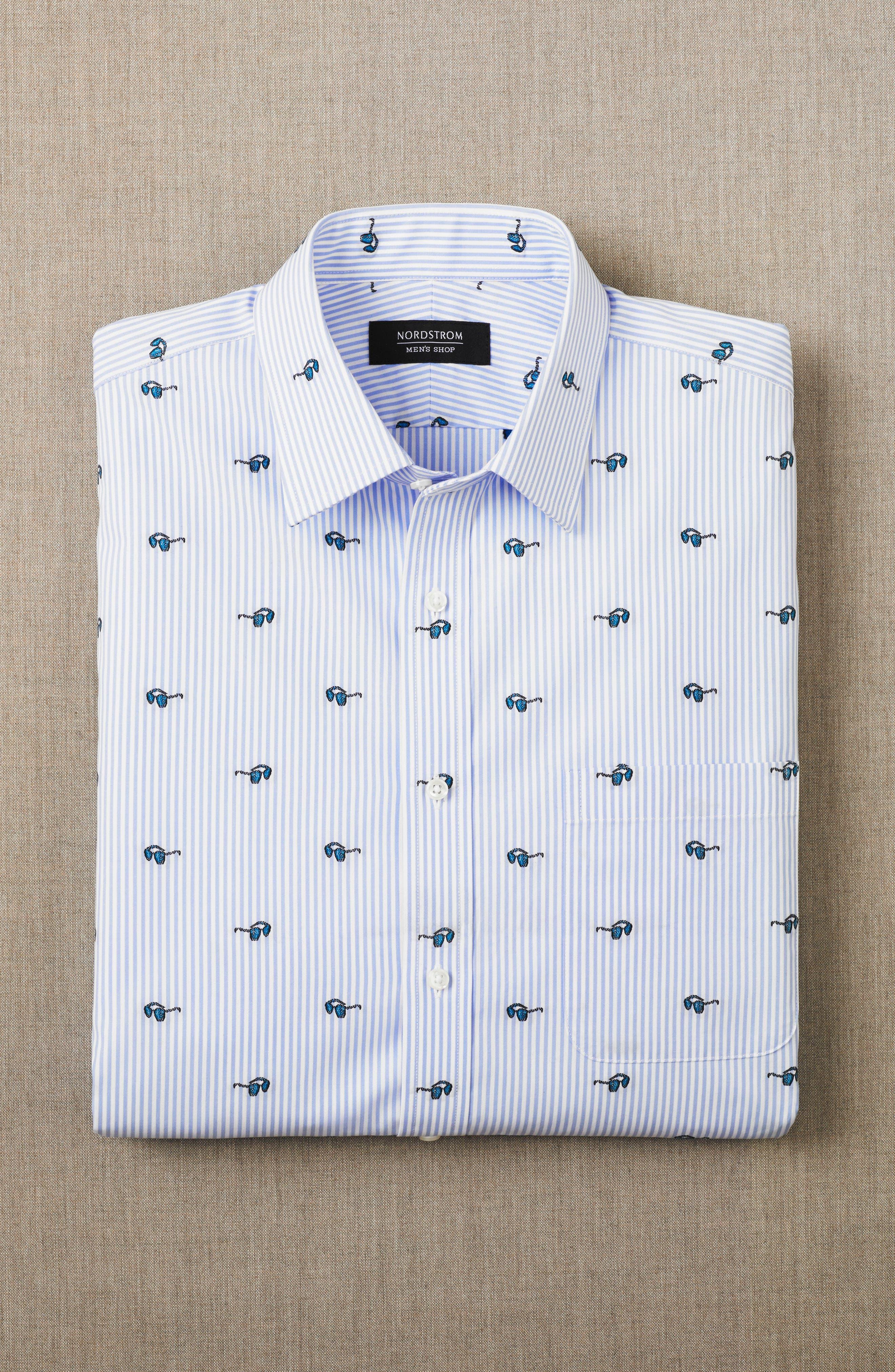 Alternate Image 3  - Nordstrom Men's Shop Trim Fit Sunglasses Print Dress Shirt