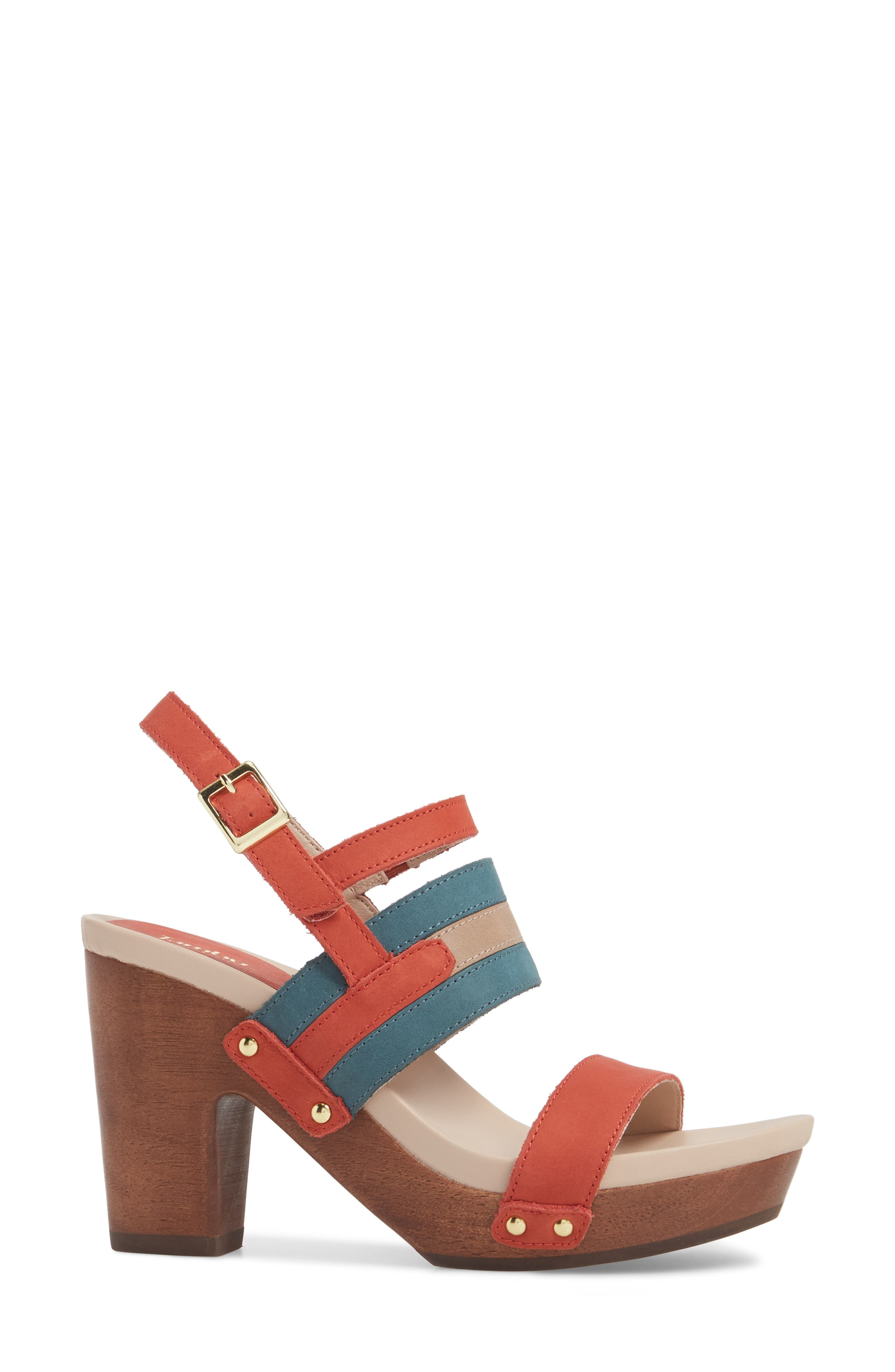 Viola Platform Sandal,                             Alternate thumbnail 3, color,                             Coral/ Teal Nubuck