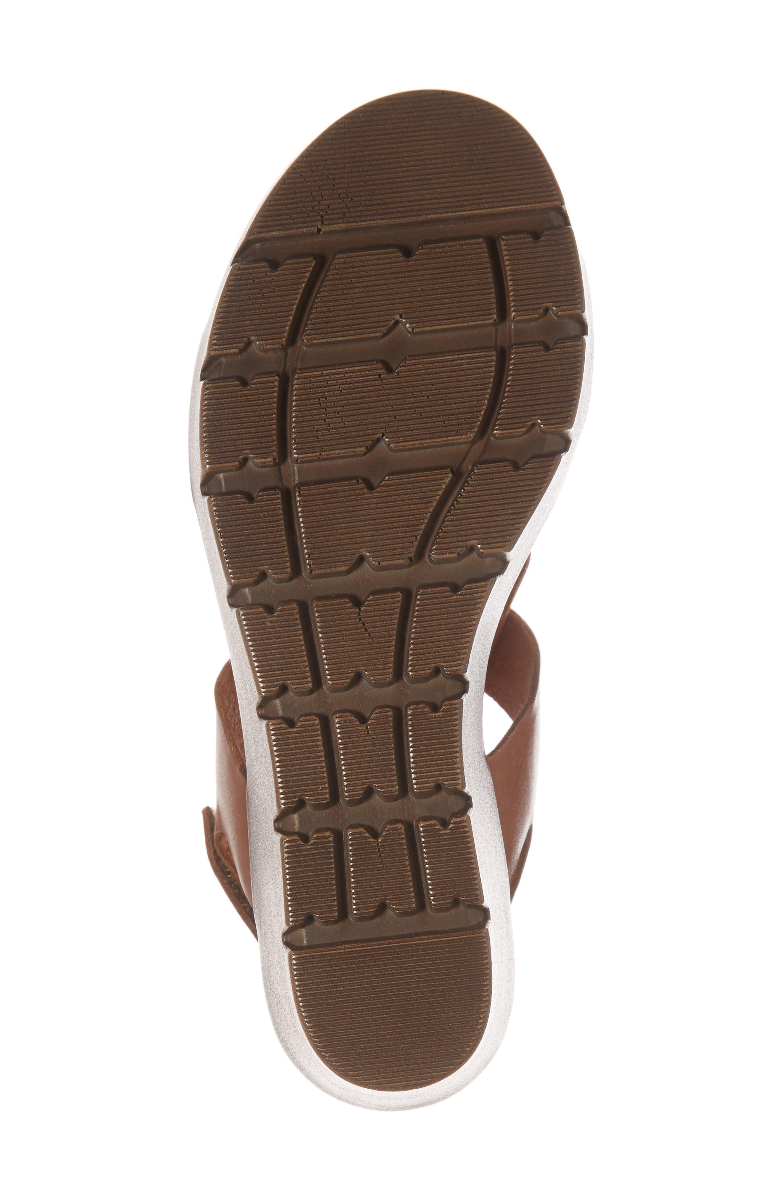 Somo Platform Wedge Sandal,                             Alternate thumbnail 6, color,                             Cognac/ Camel Leather