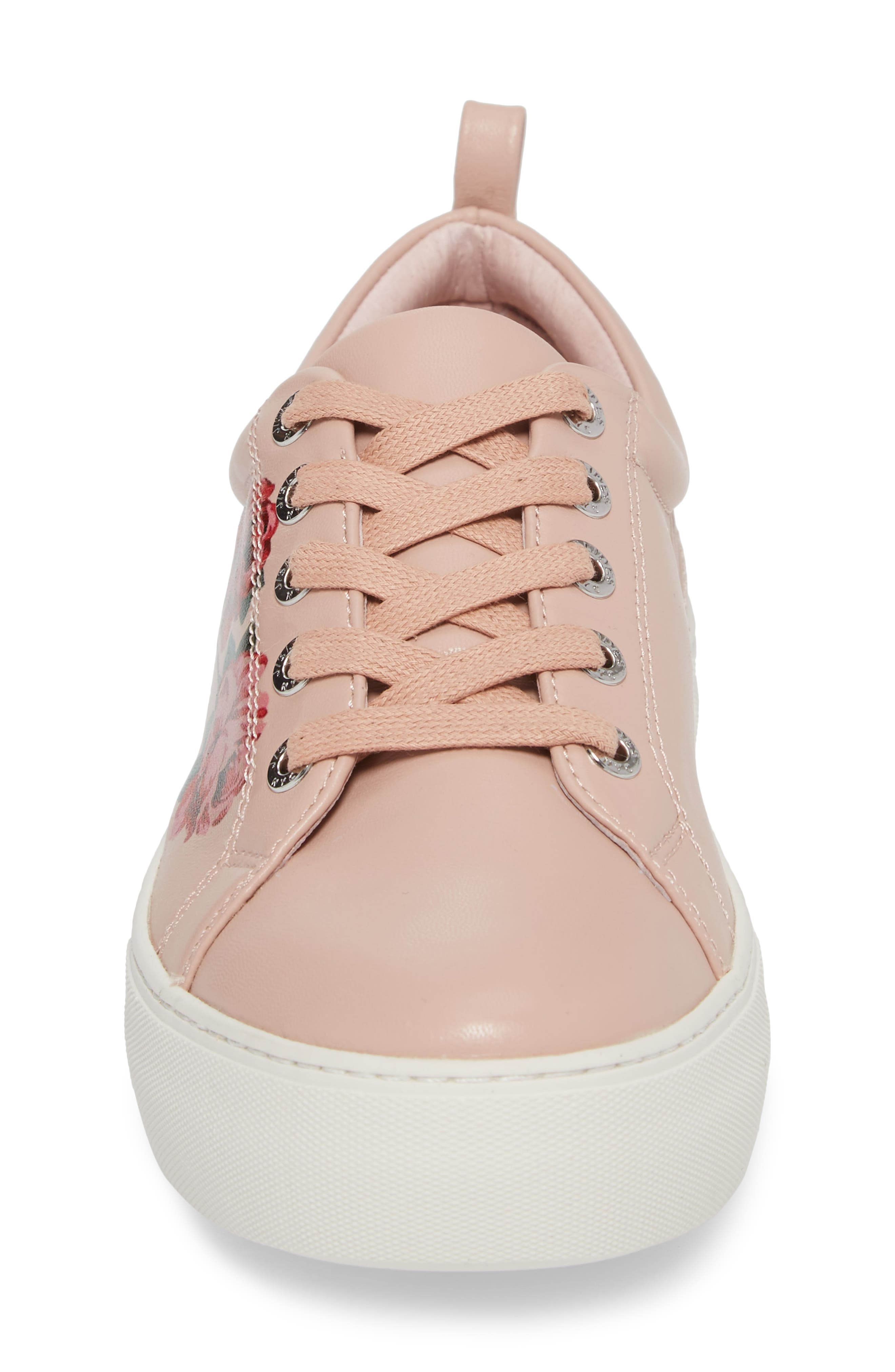 Adel Floral Sneaker,                             Alternate thumbnail 4, color,                             Pink Leather