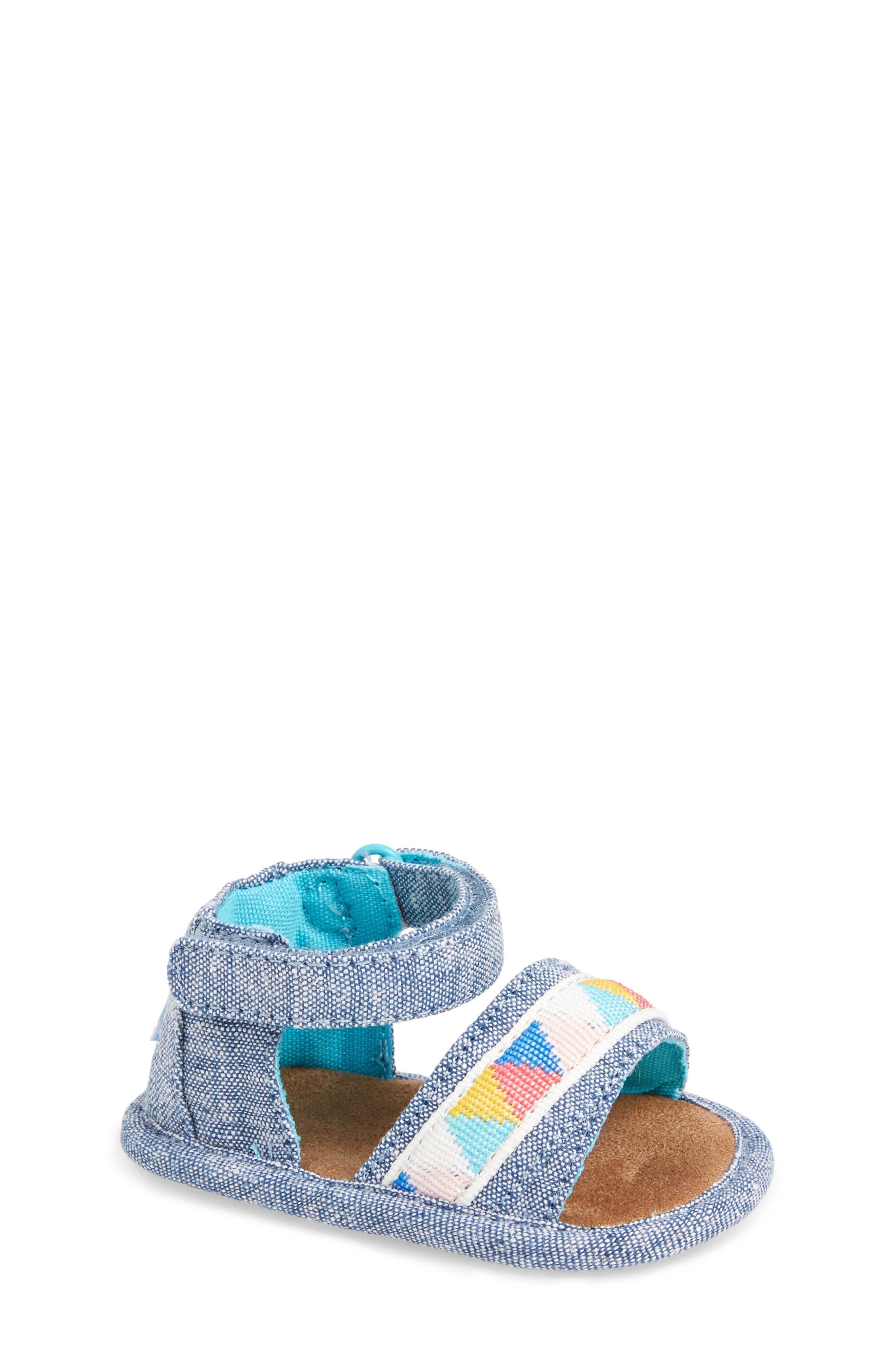 Shiloh Sandal,                         Main,                         color, Blue Slub Chambray/ Tribal