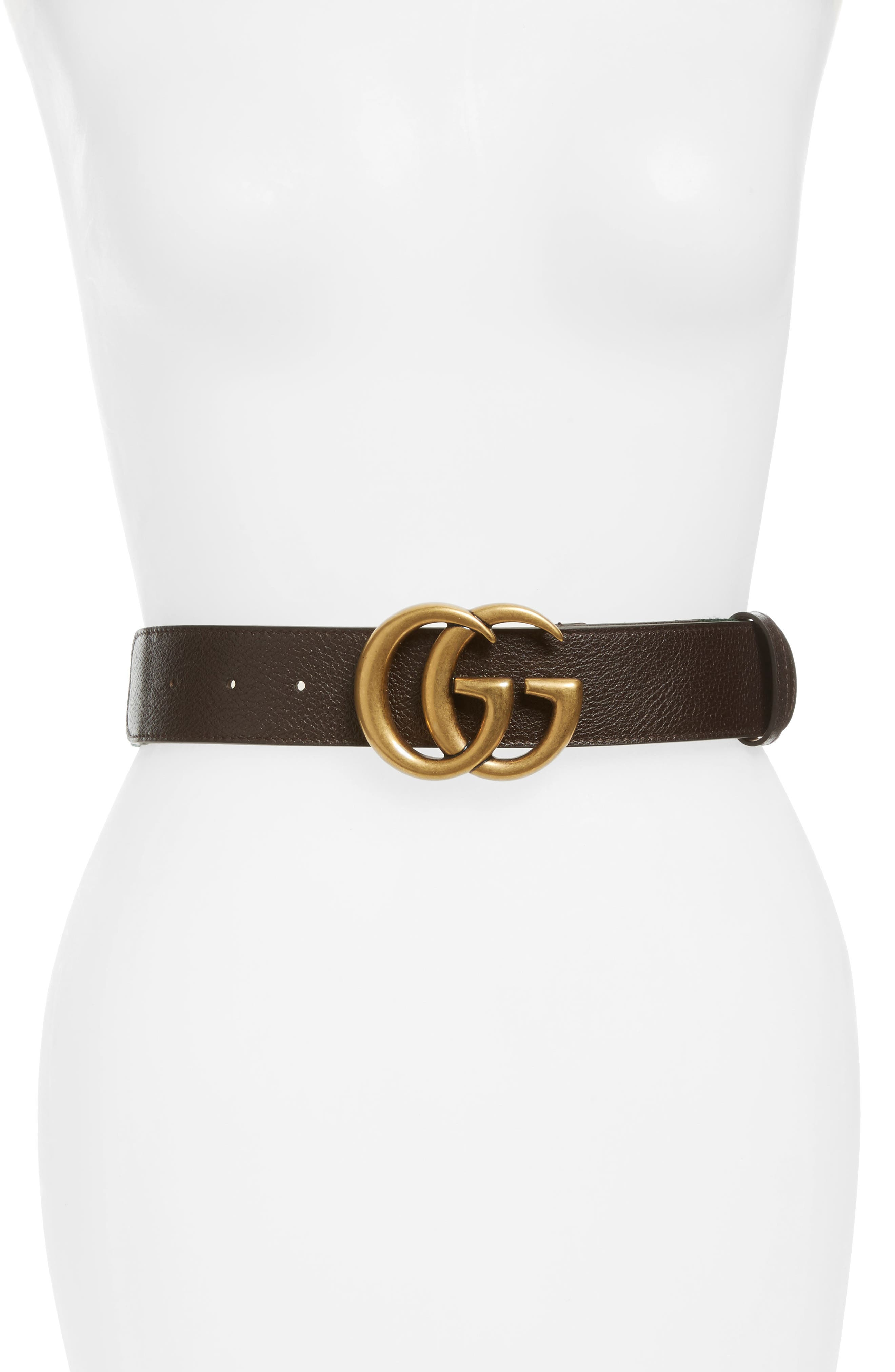 Alternate Image 1 Selected - Gucci Double G Leather & Web Belt
