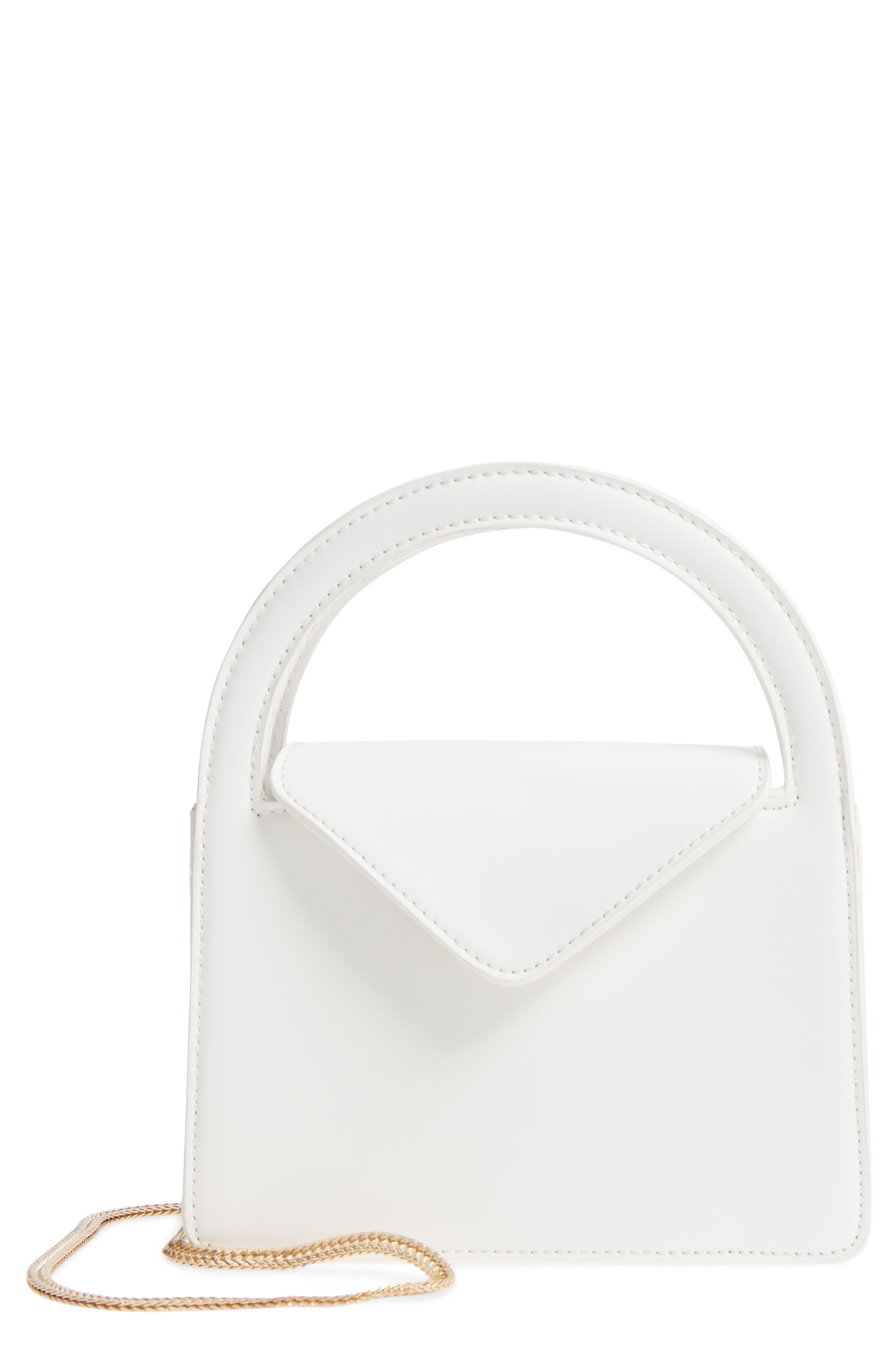 Envelope Flap Faux Leather Crossbody Satchel,                             Main thumbnail 1, color,                             White