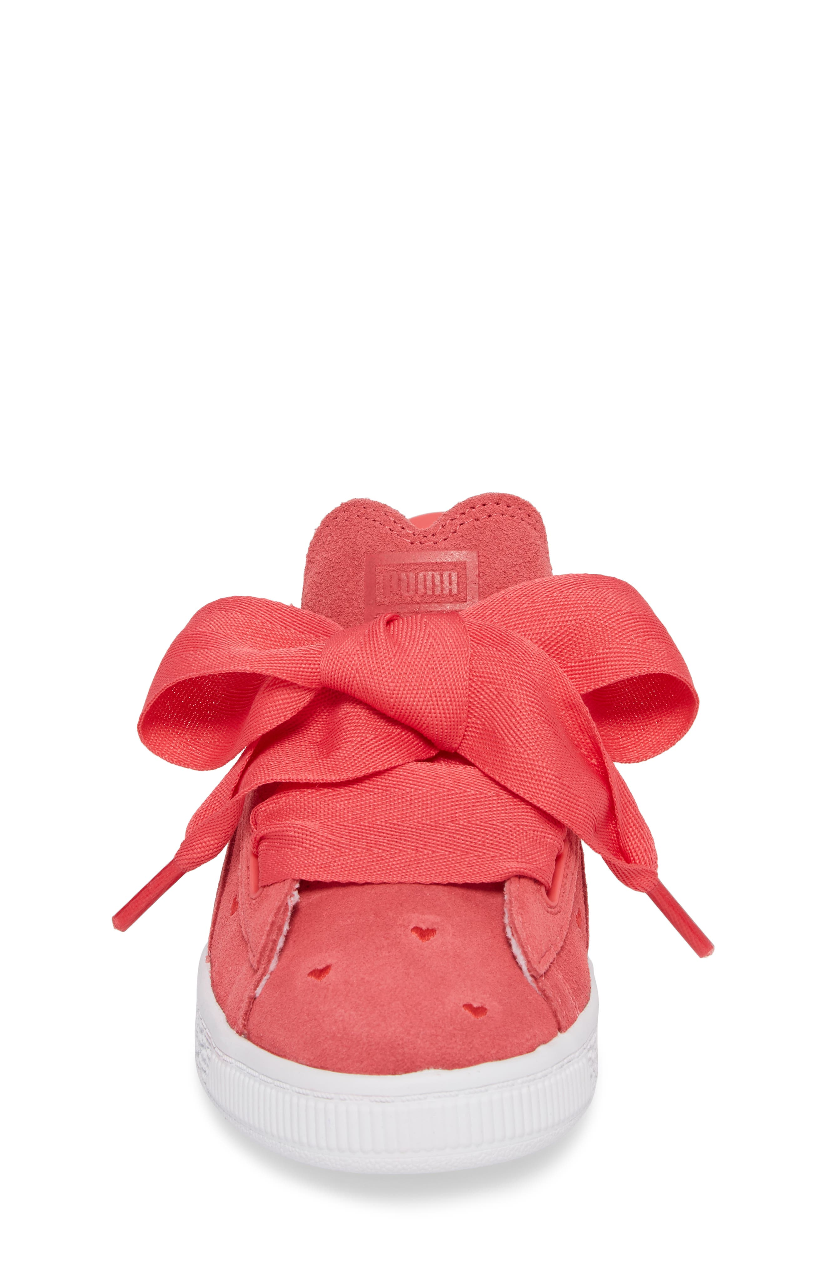 Suede Heart Valentine Sneaker,                             Alternate thumbnail 4, color,                             Paradise Pink/ Paradise Pink