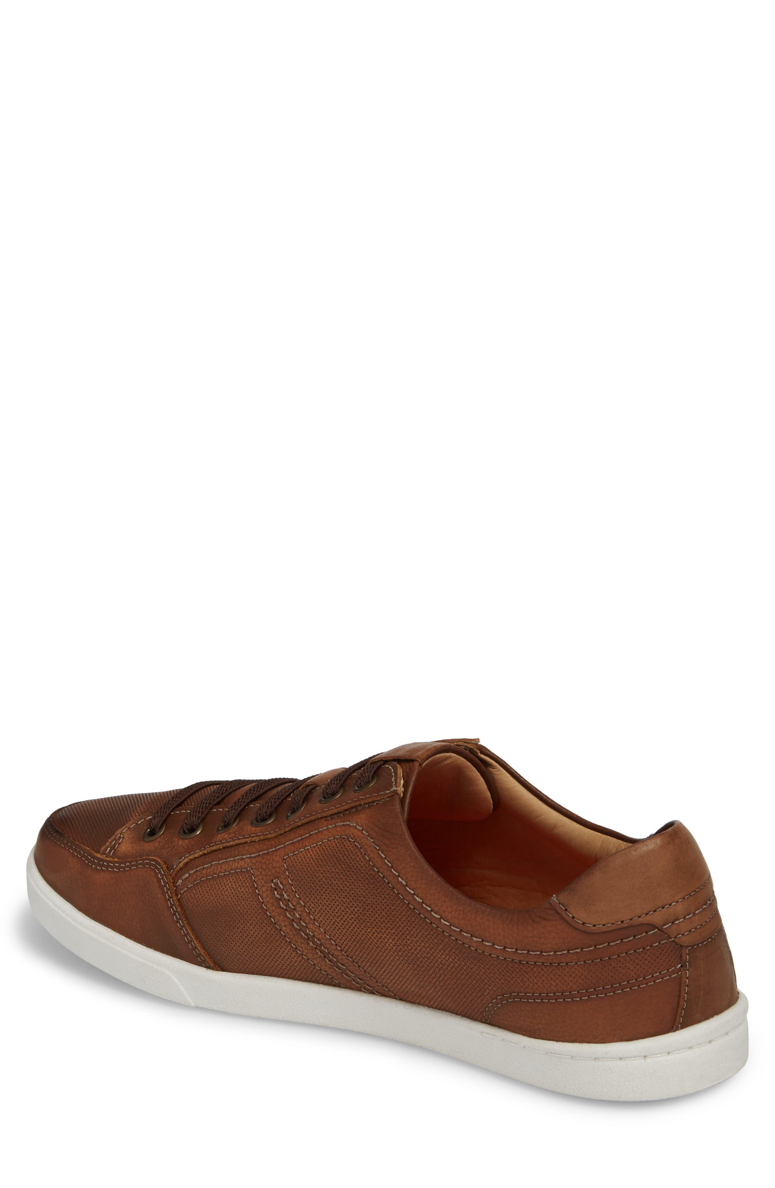 Quinton Textured Low Top Sneaker,                             Alternate thumbnail 2, color,                             Tan Leather