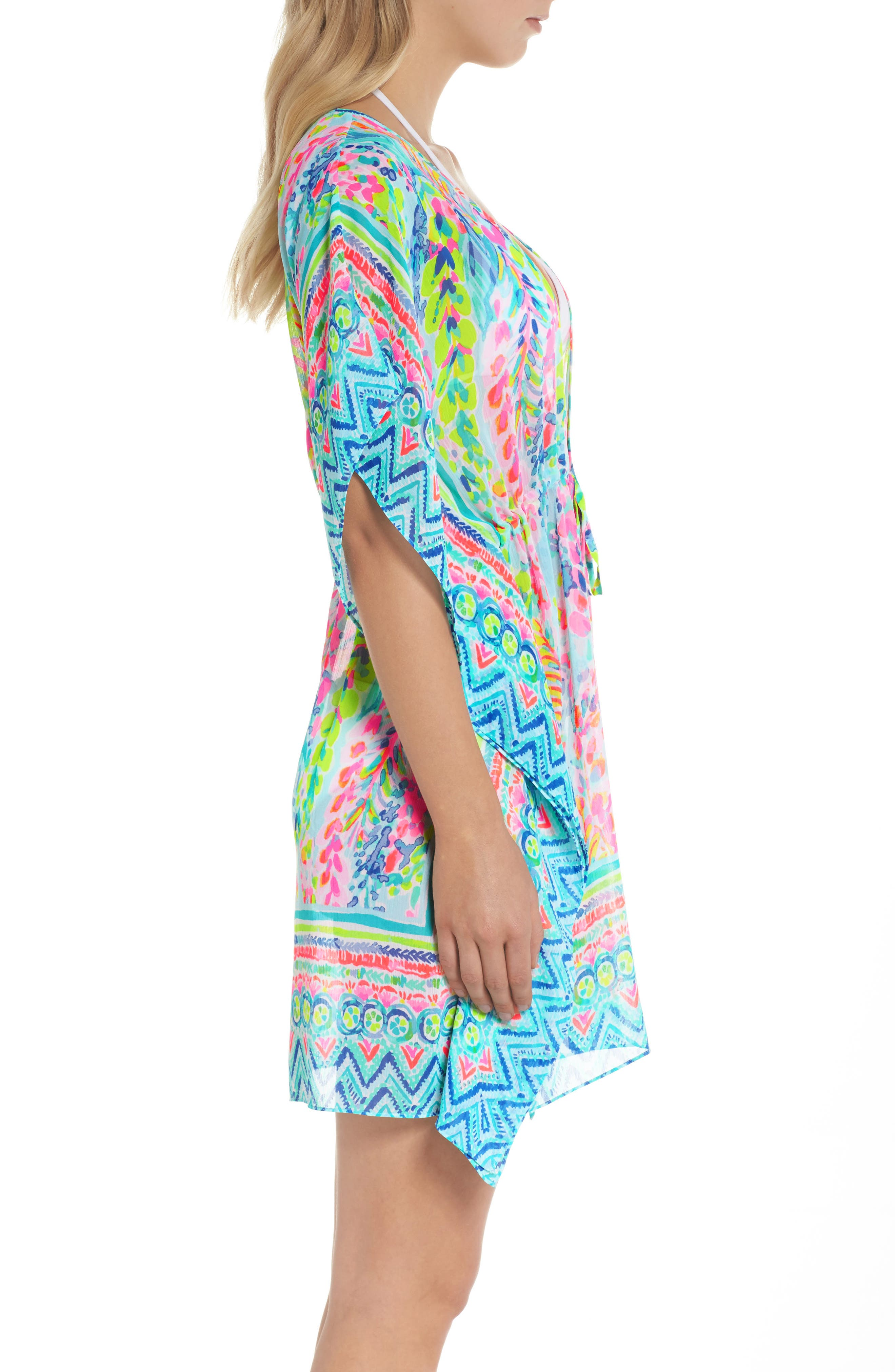 Gardenia Tie Waist Cover-Up,                             Alternate thumbnail 3, color,                             Multi Catch The Wave