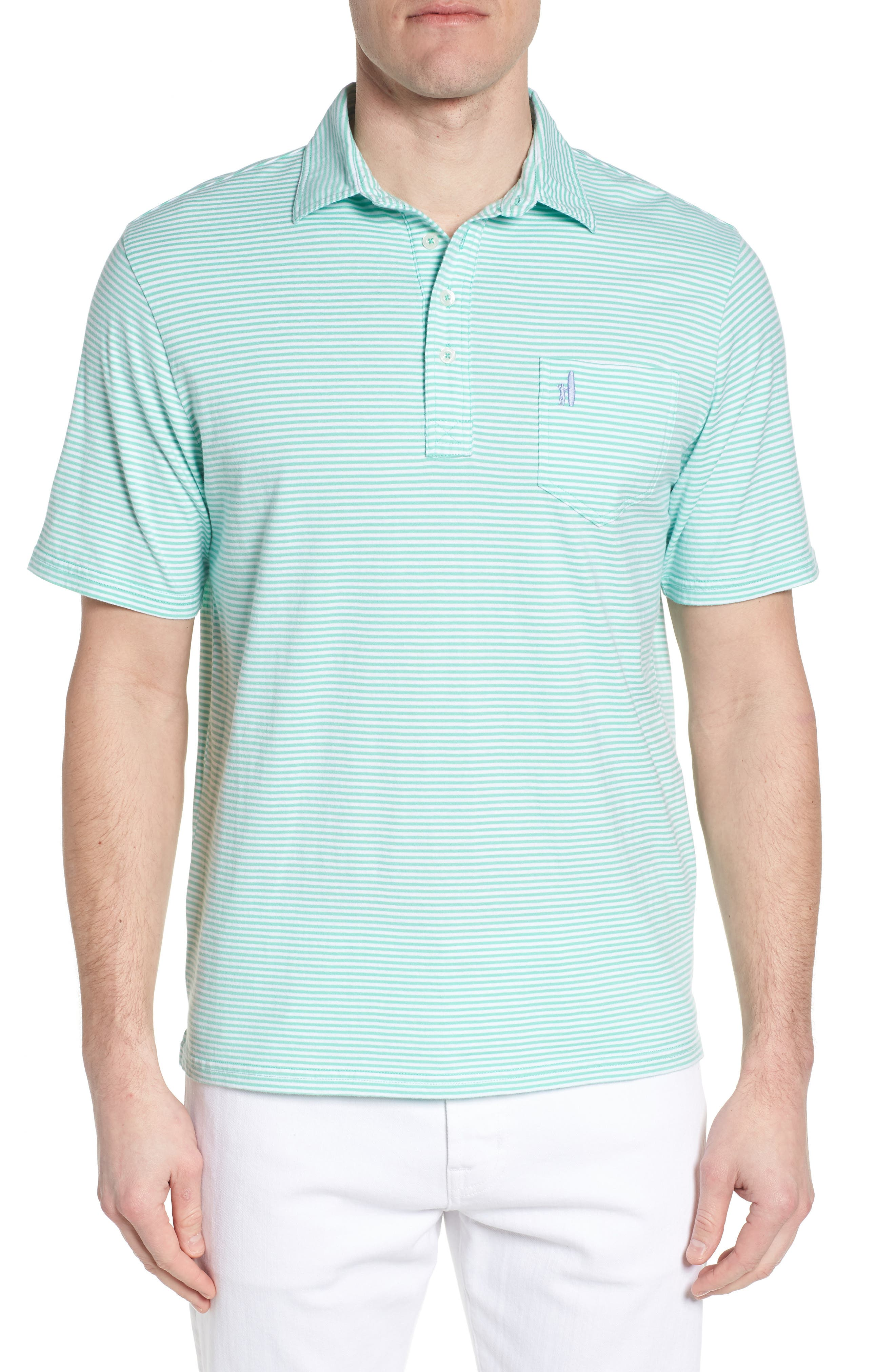 Jack Stripe Jersey Polo,                         Main,                         color, Fern