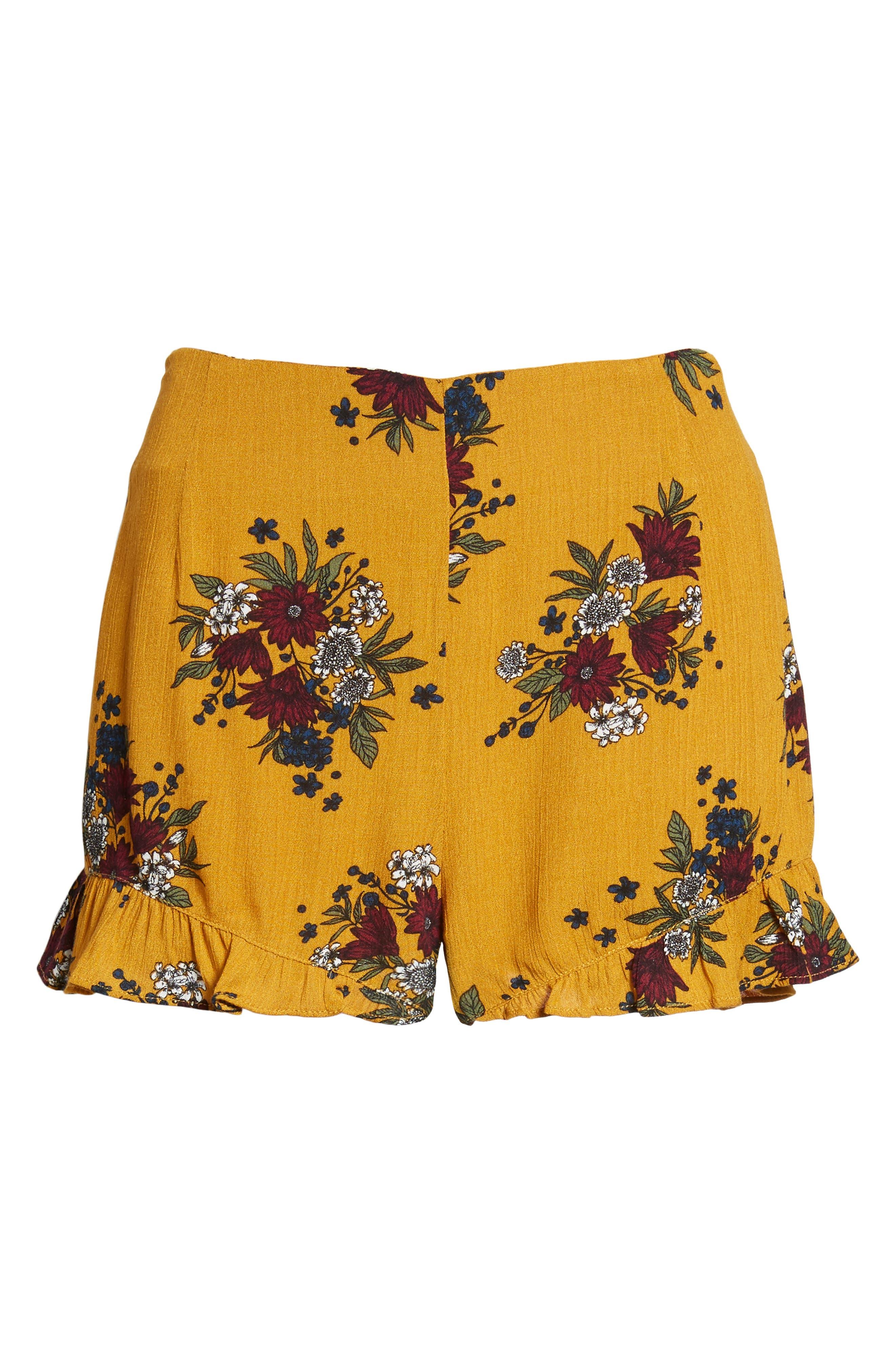 Theia Floral Ruffle Hem Shorts,                             Alternate thumbnail 6, color,                             Honey