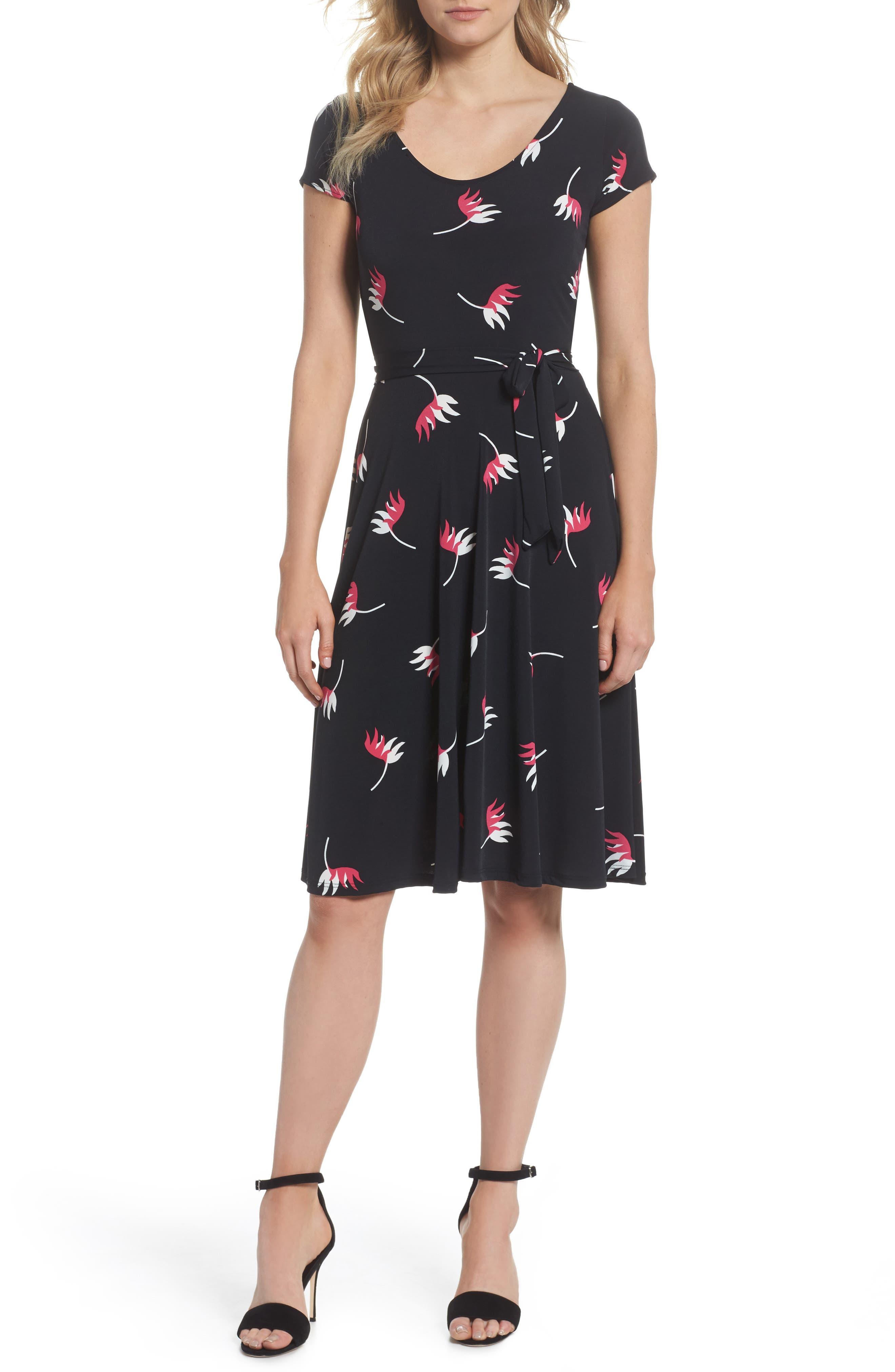 Llana Fit & Flare Dress,                         Main,                         color, Bird Of Paradise