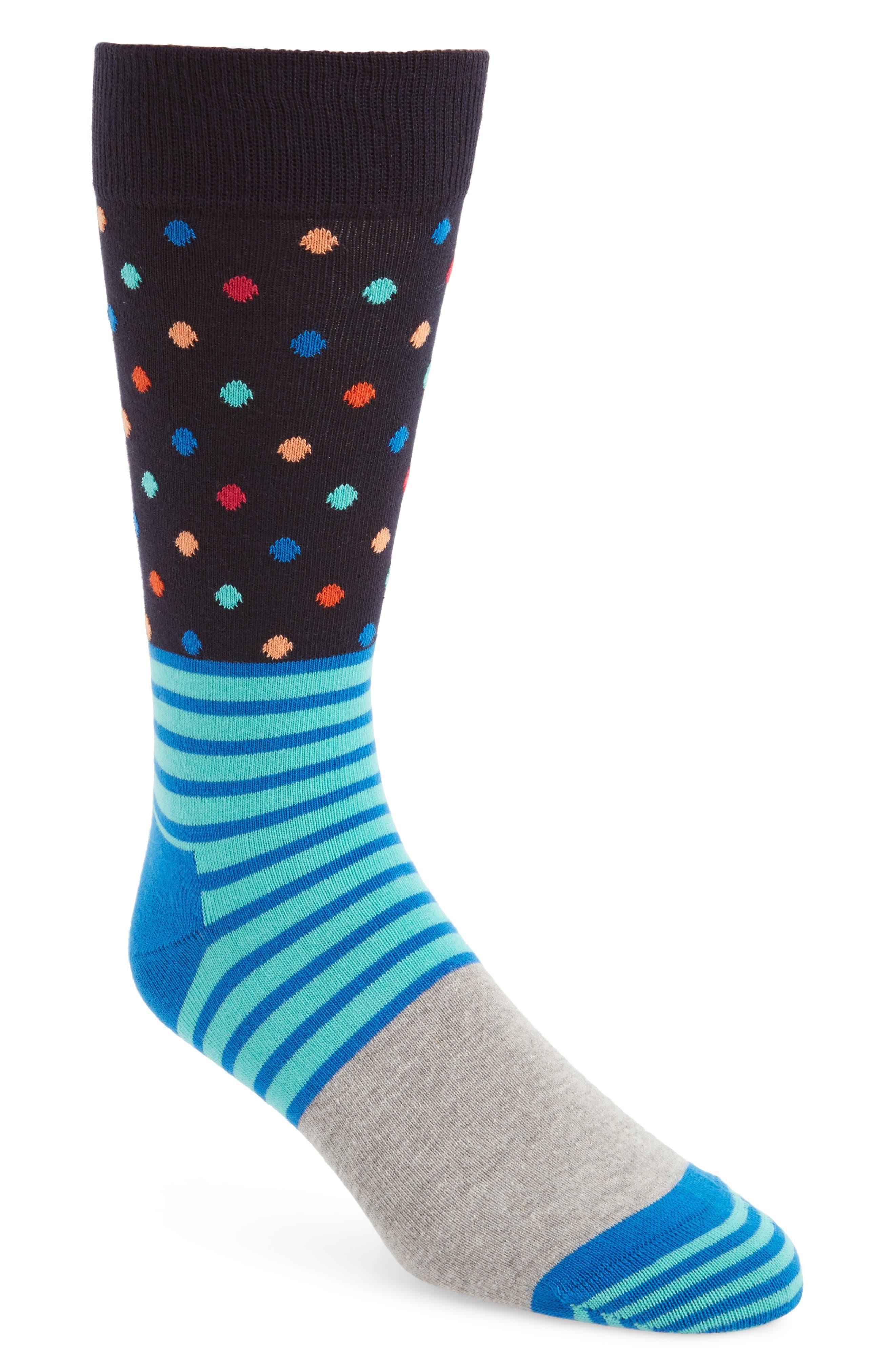 Stripe & Dot Socks,                             Main thumbnail 1, color,                             Blue Multi
