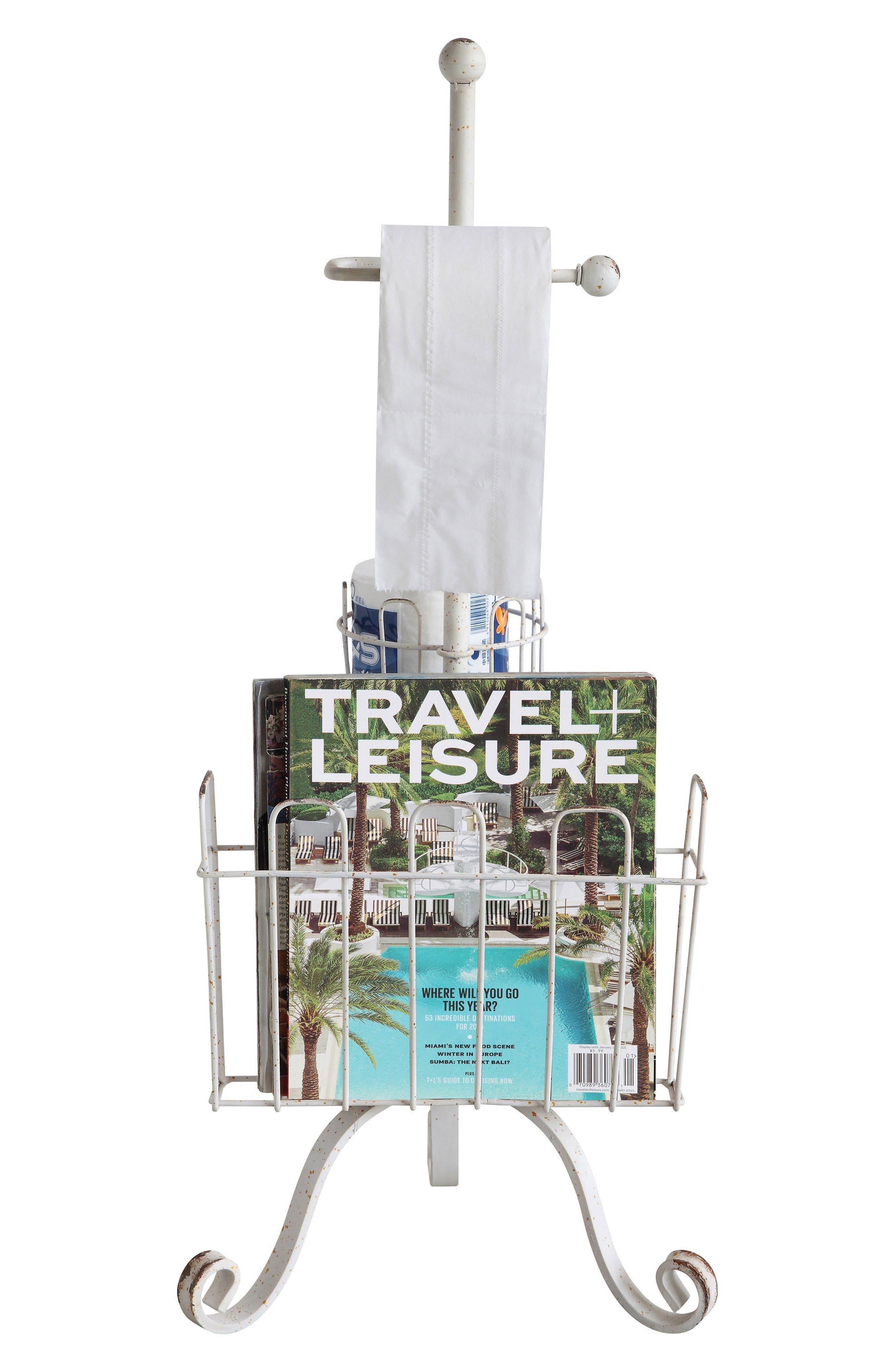 Toilet Paper & Magazine Stand,                         Main,                         color, White