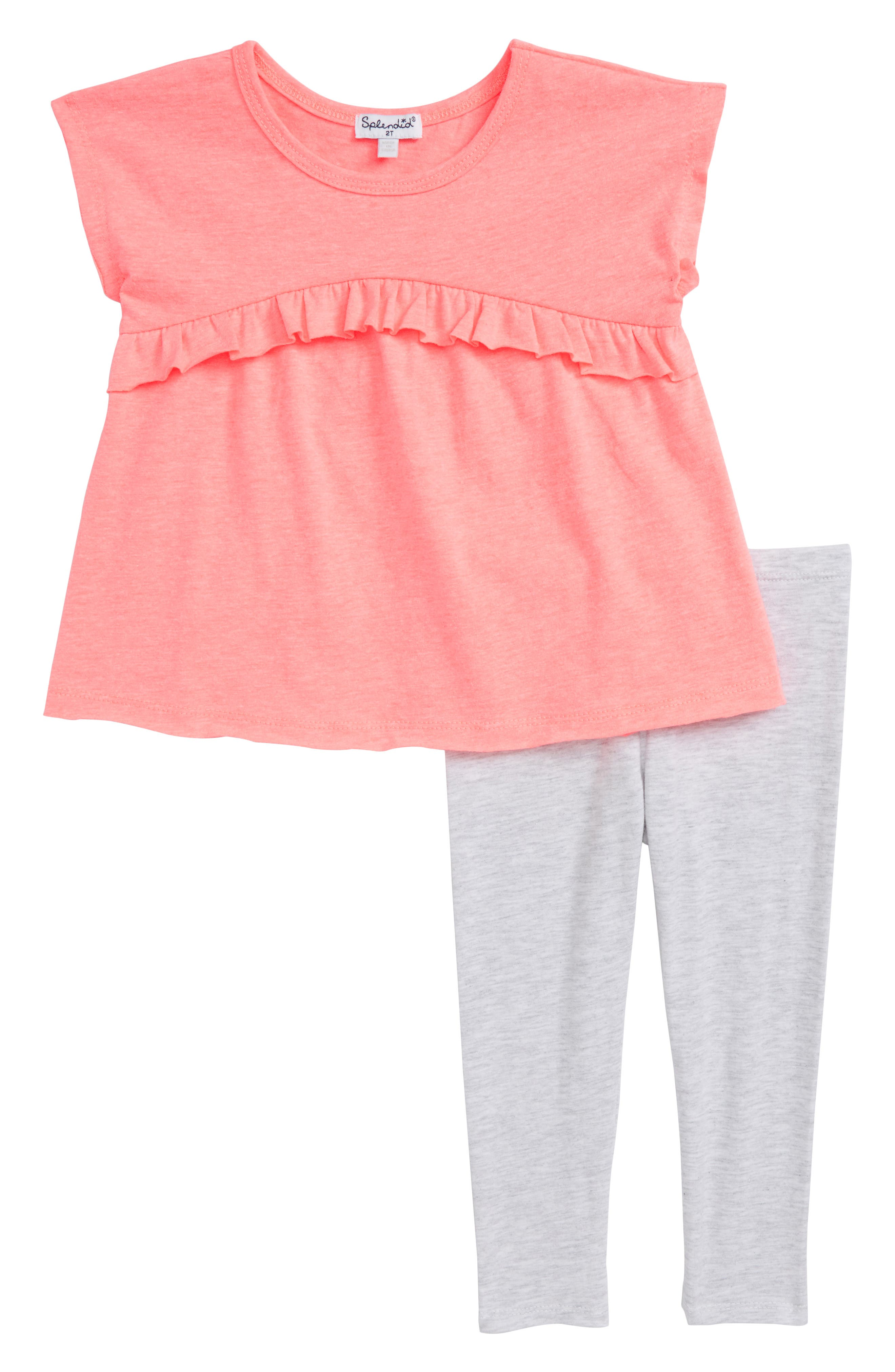Ruffle Swing Top & Leggings Set,                         Main,                         color, Electric Pink