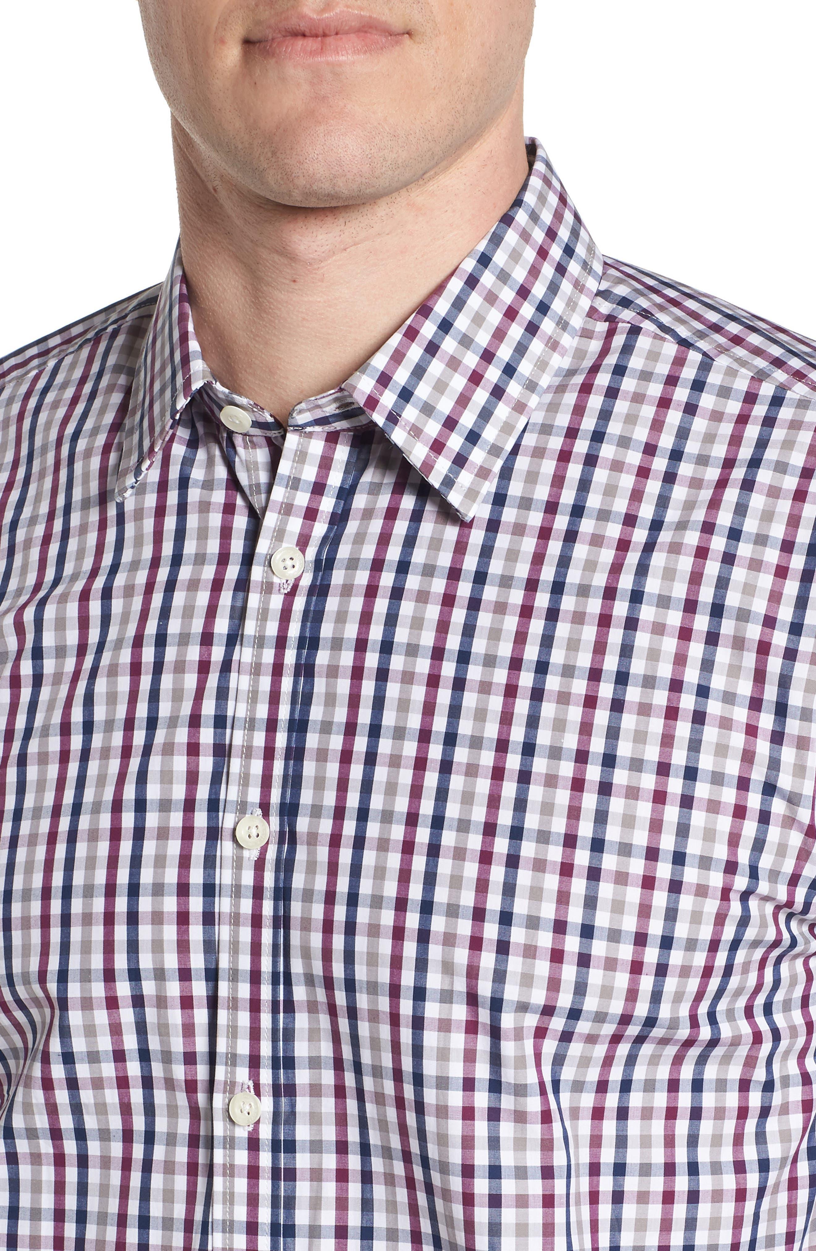 Slim Fit Check Sport Shirt,                             Alternate thumbnail 4, color,                             Dark Red