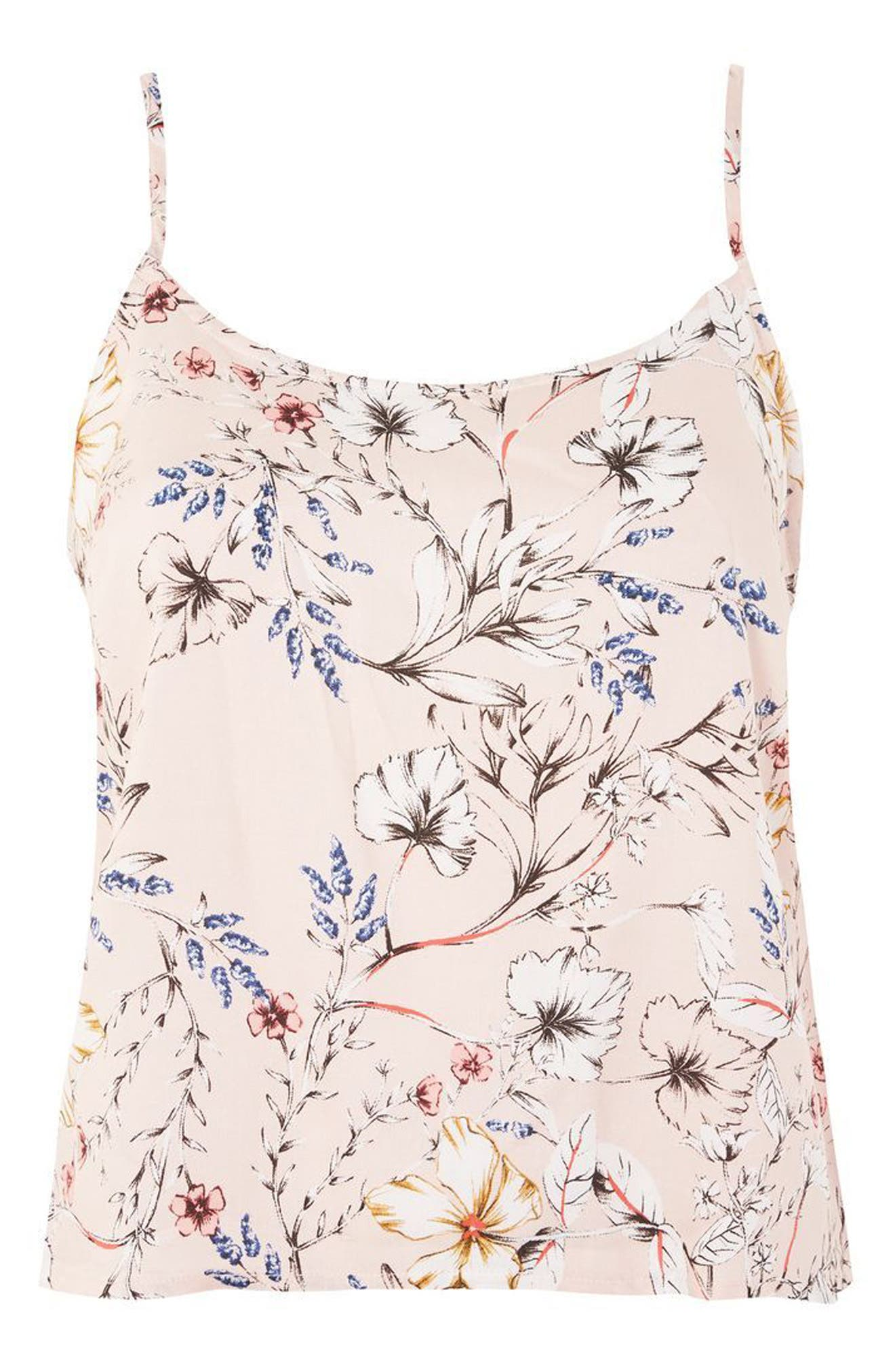 Sketchy Floral Camisole,                             Main thumbnail 1, color,                             Pink Multi