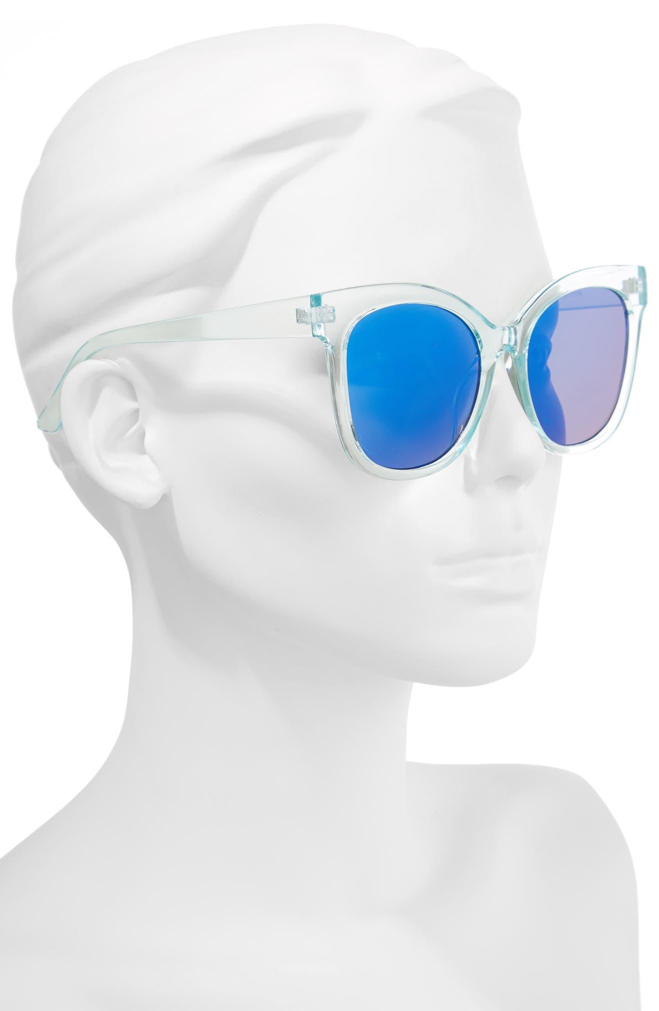 57mm Cat Eye Sunglasses,                             Alternate thumbnail 2, color,                             Green