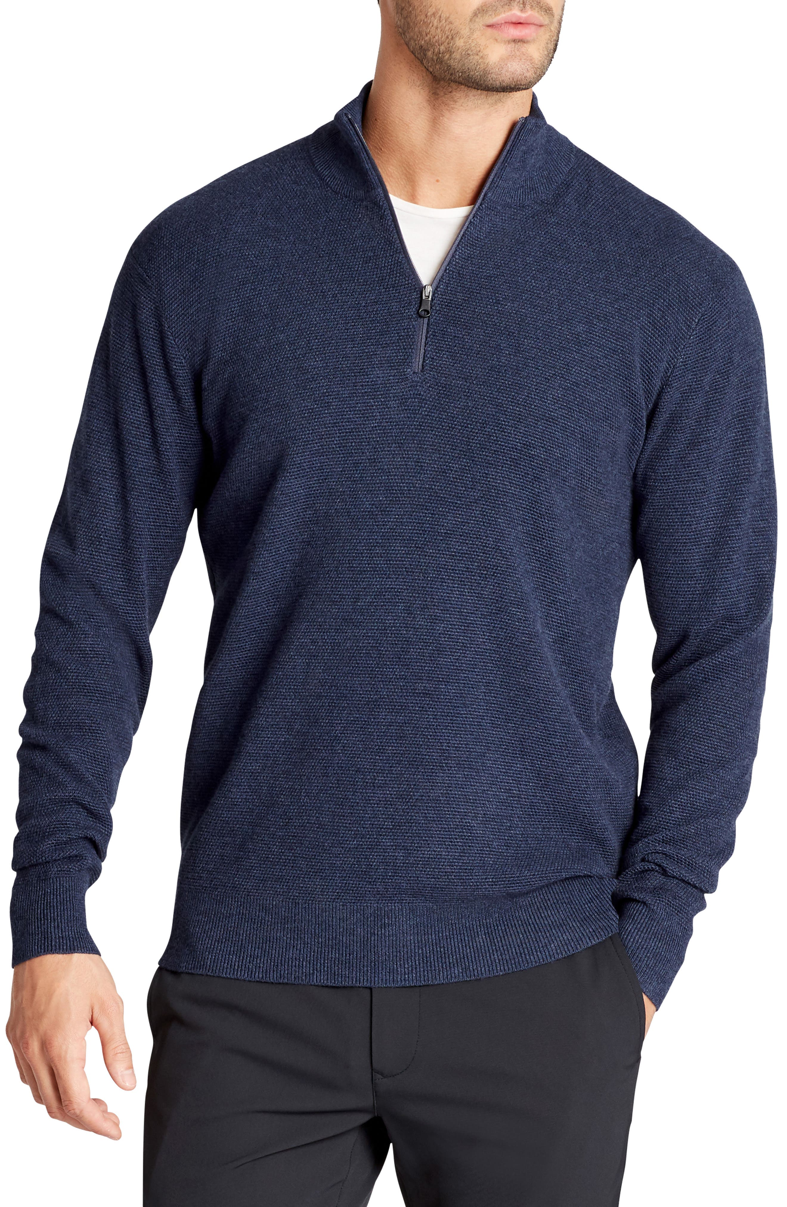 The Knockdown Quarter Zip Pullover,                         Main,                         color, Heather Navy