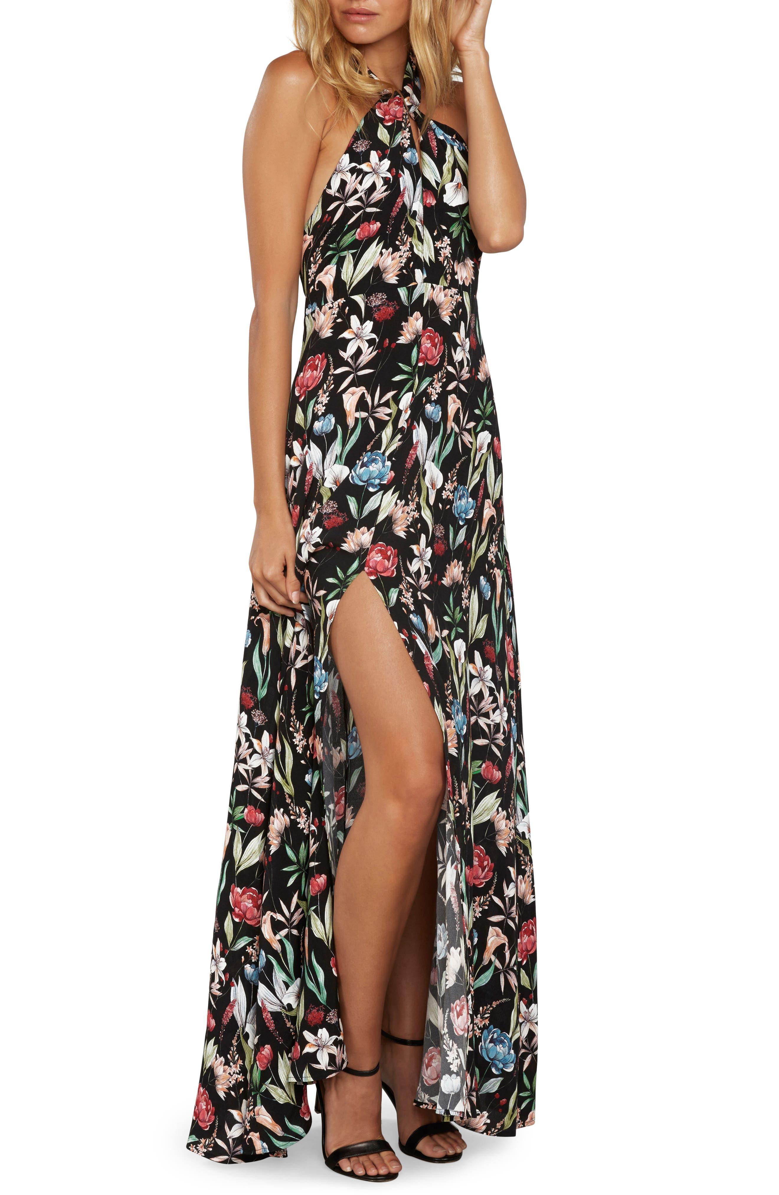 Print Halter Maxi Dress,                         Main,                         color, Black