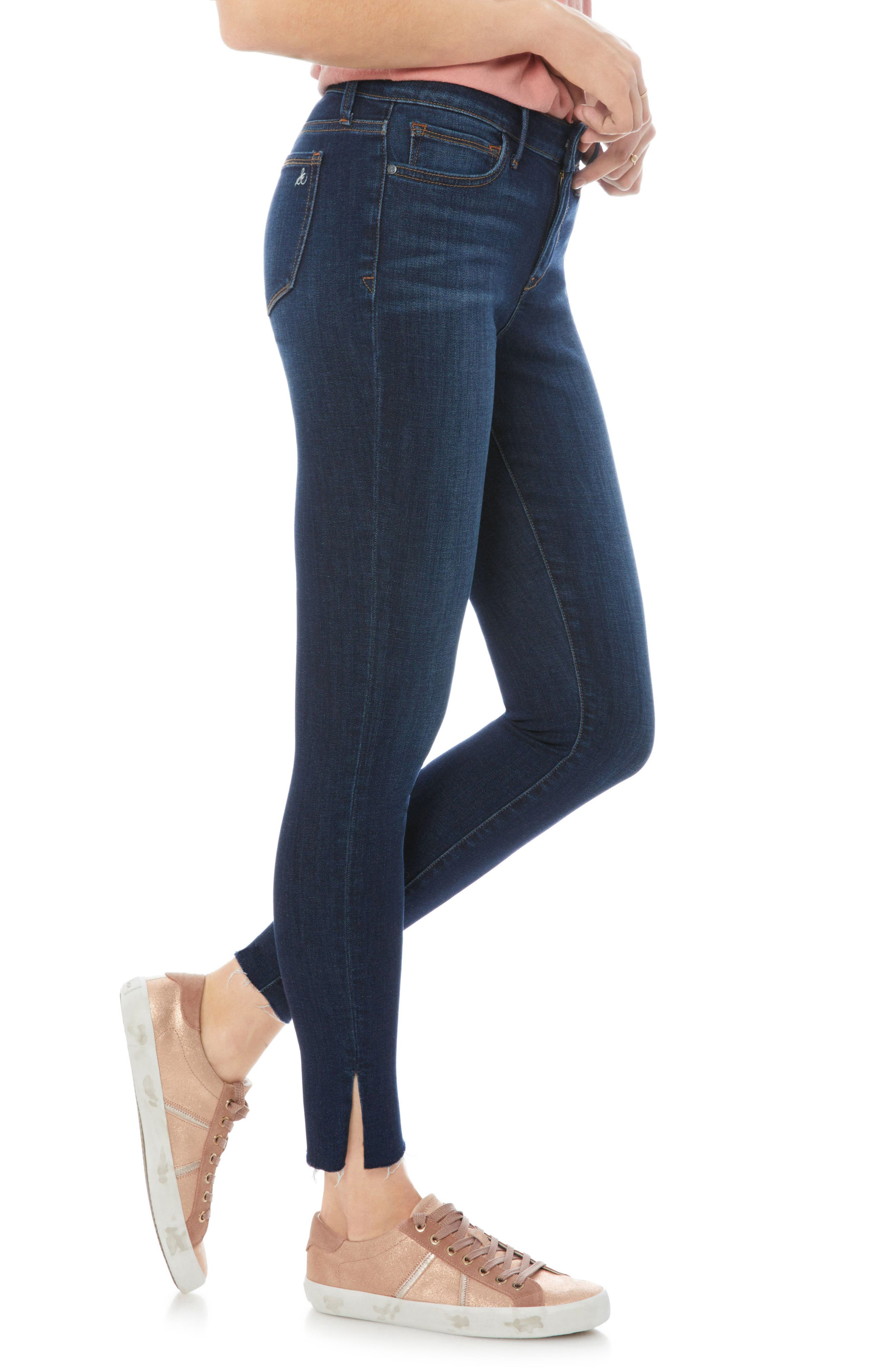 The Kitten Side Slit Skinny Jeans,                             Alternate thumbnail 3, color,                             Jacob