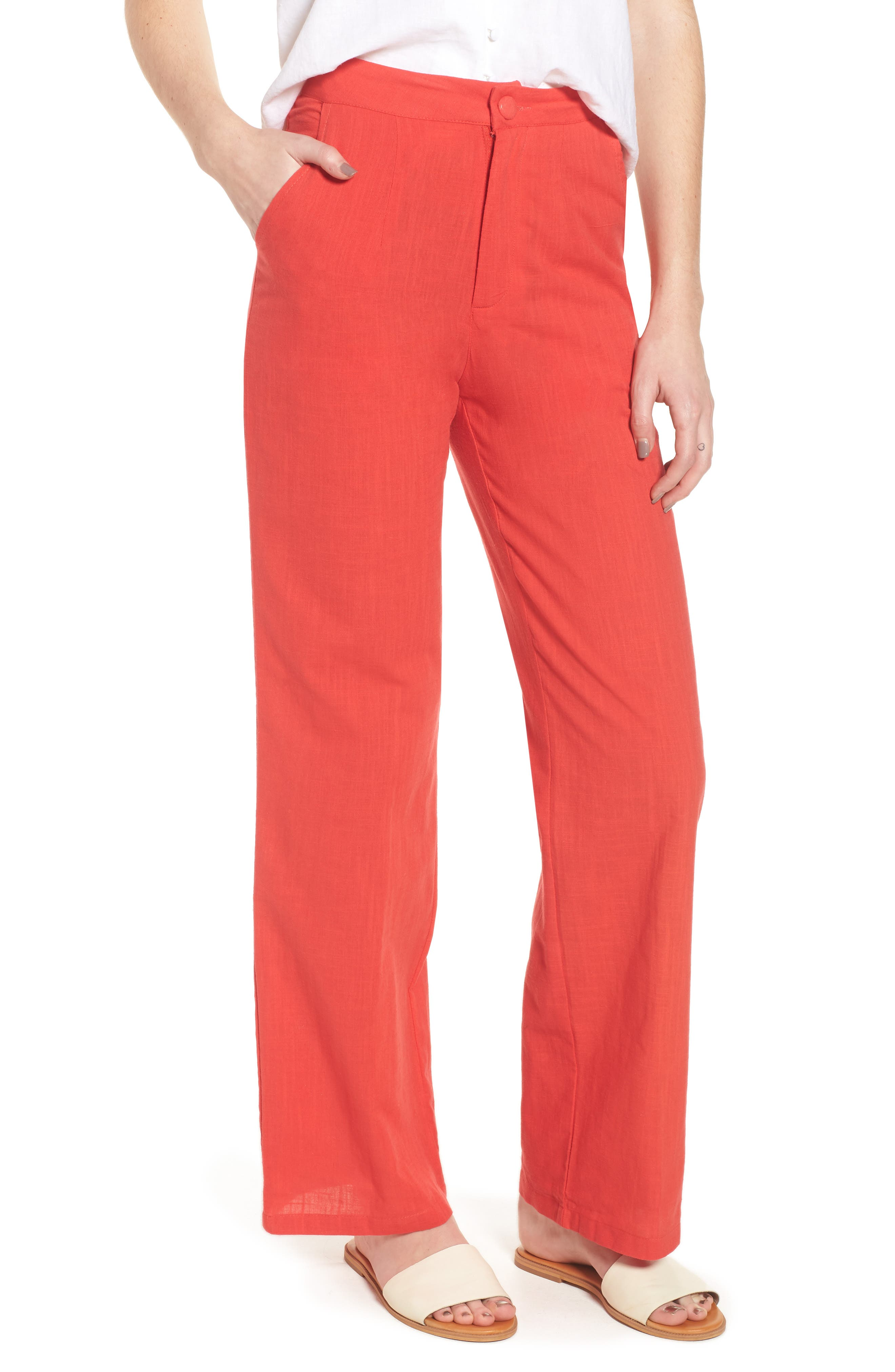 Femme Fatale High Waist Pants,                         Main,                         color, Red