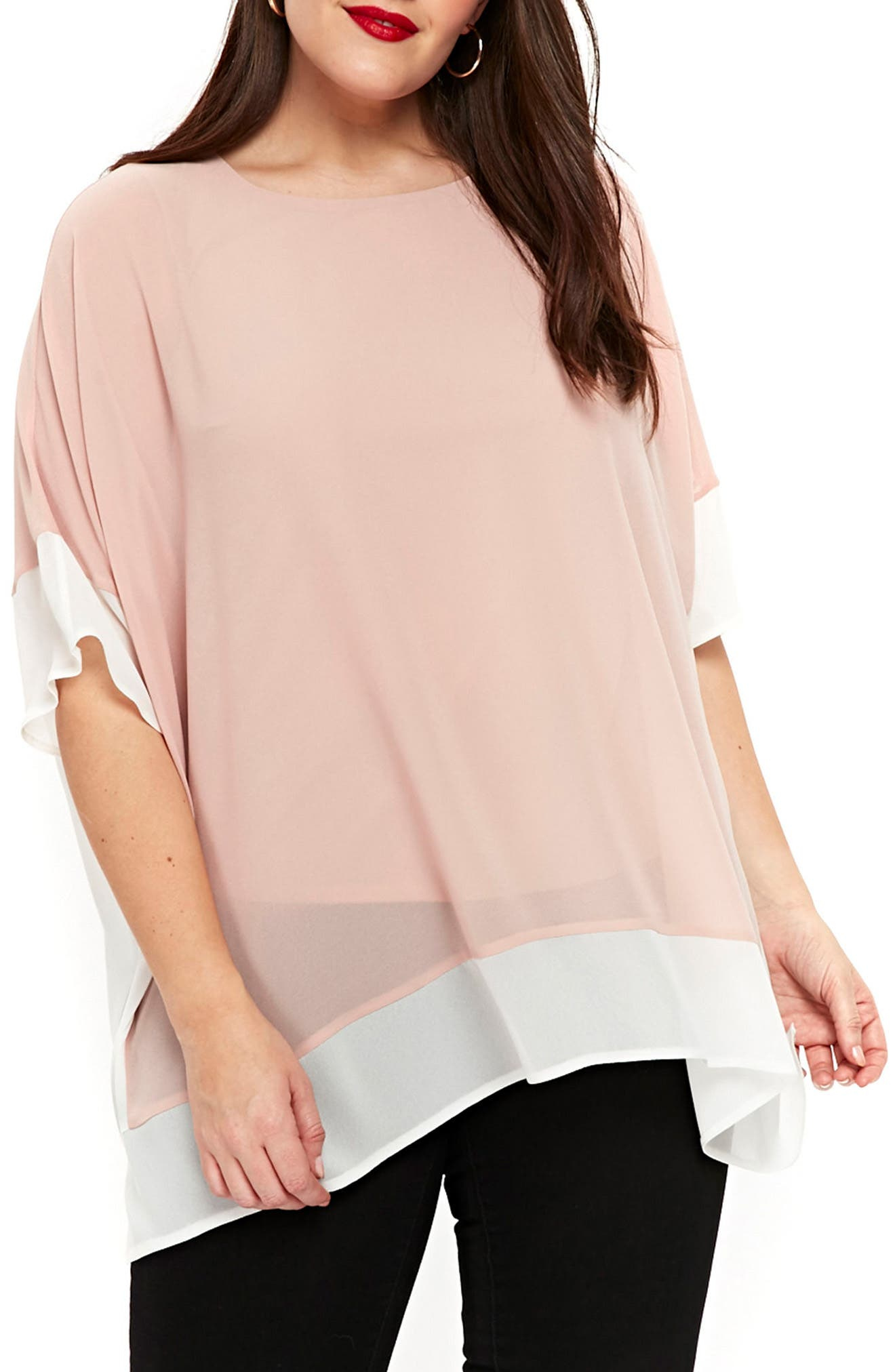 Contrast Trim Cape Top,                         Main,                         color, Blush