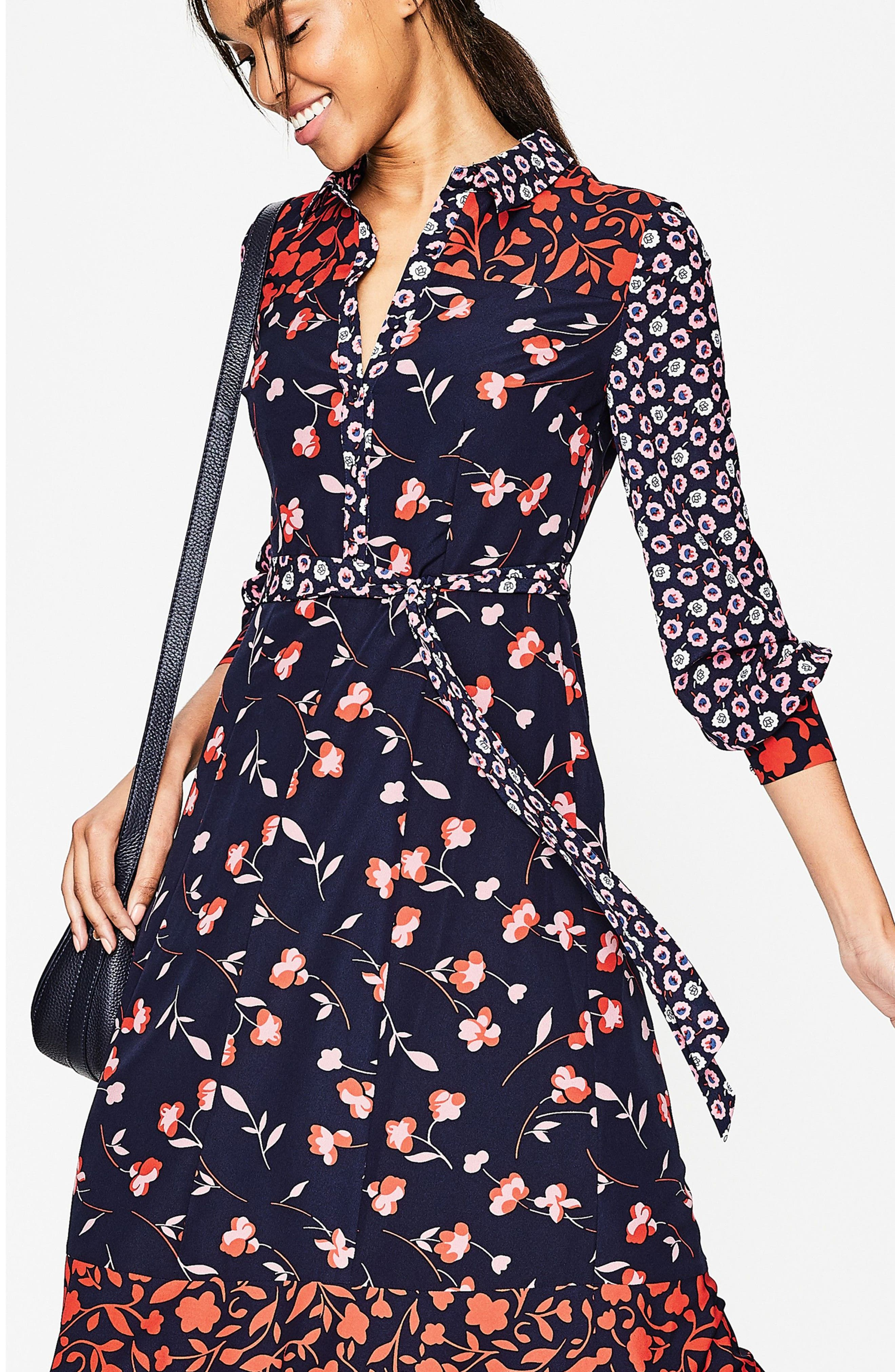 Mixed Print Midi Shirtdress,                             Alternate thumbnail 3, color,                             Navy/ Wildflower Sma